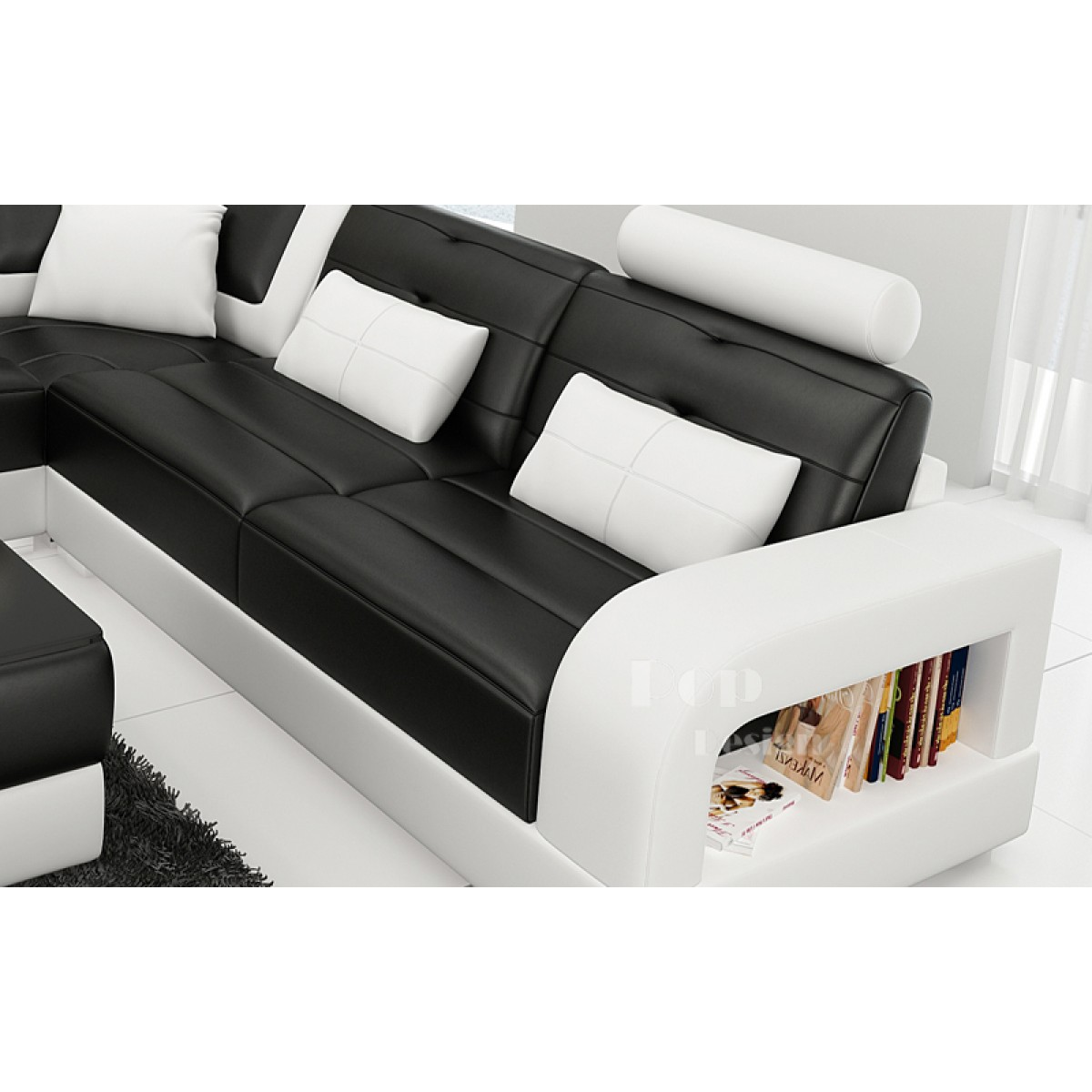 canap d 39 angle design en cuir salerno xl pop. Black Bedroom Furniture Sets. Home Design Ideas