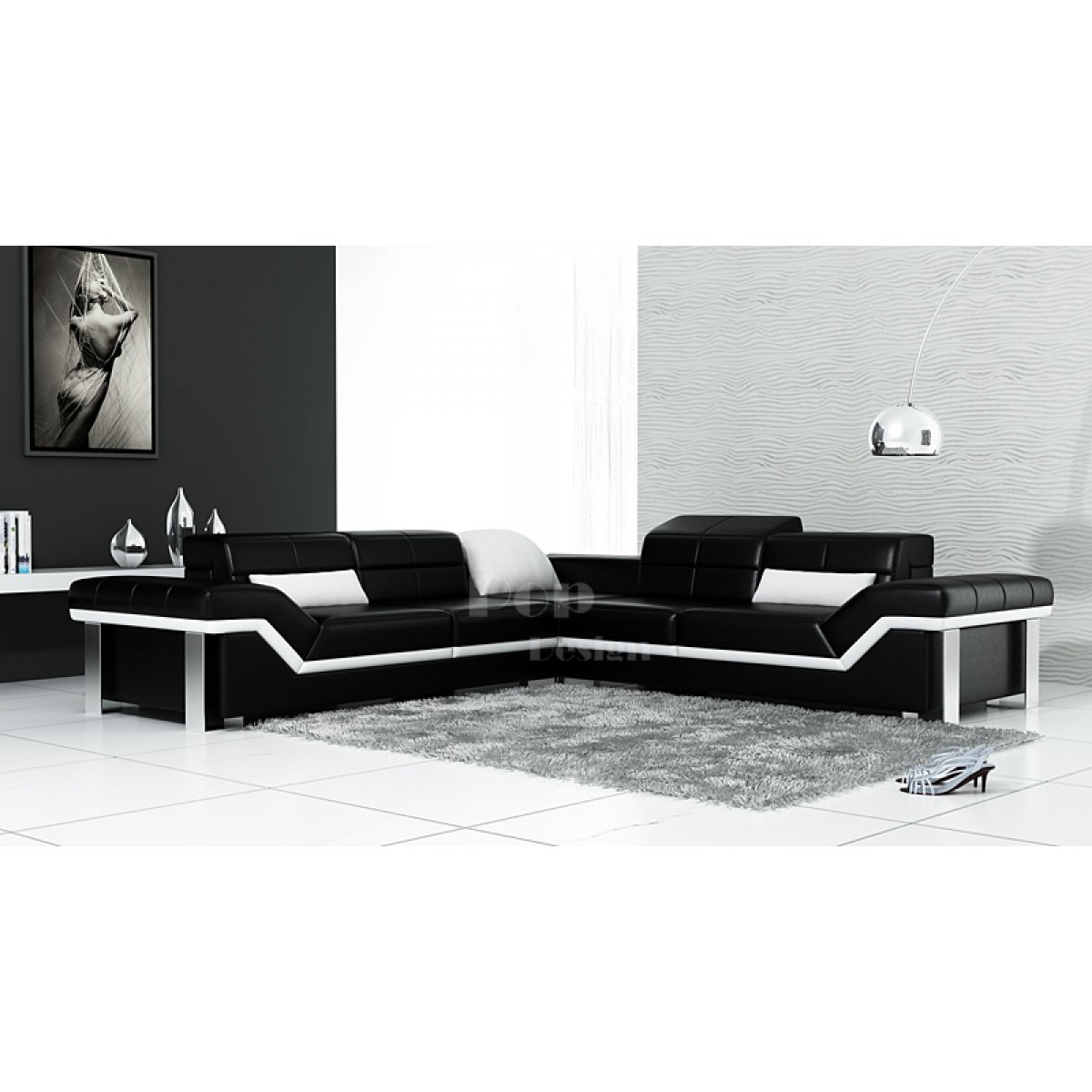 canap d 39 angle en cuir design torino l pop. Black Bedroom Furniture Sets. Home Design Ideas