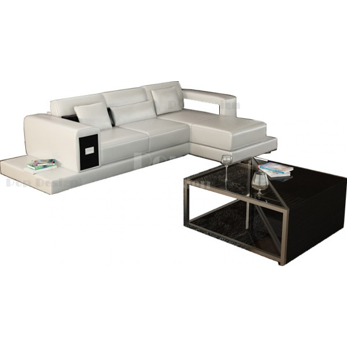 canap d 39 angle design en cuir arezzo table int gr e pop. Black Bedroom Furniture Sets. Home Design Ideas