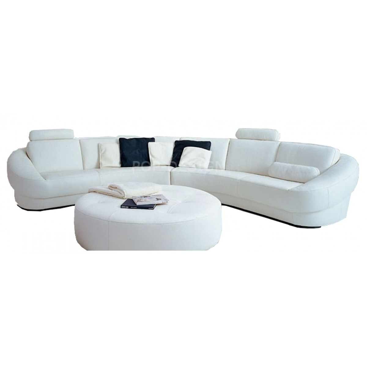 canap d 39 angle design en cuir aquila pouf pop. Black Bedroom Furniture Sets. Home Design Ideas