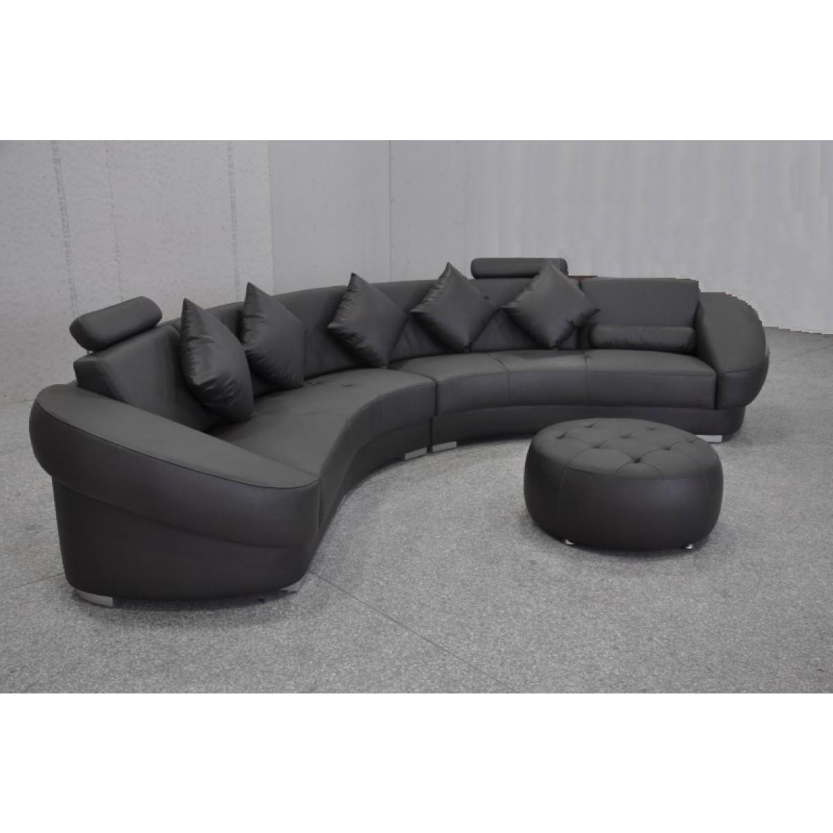 Canapé d'angle Design en cuir Aquila + pouf   pop-design.fr