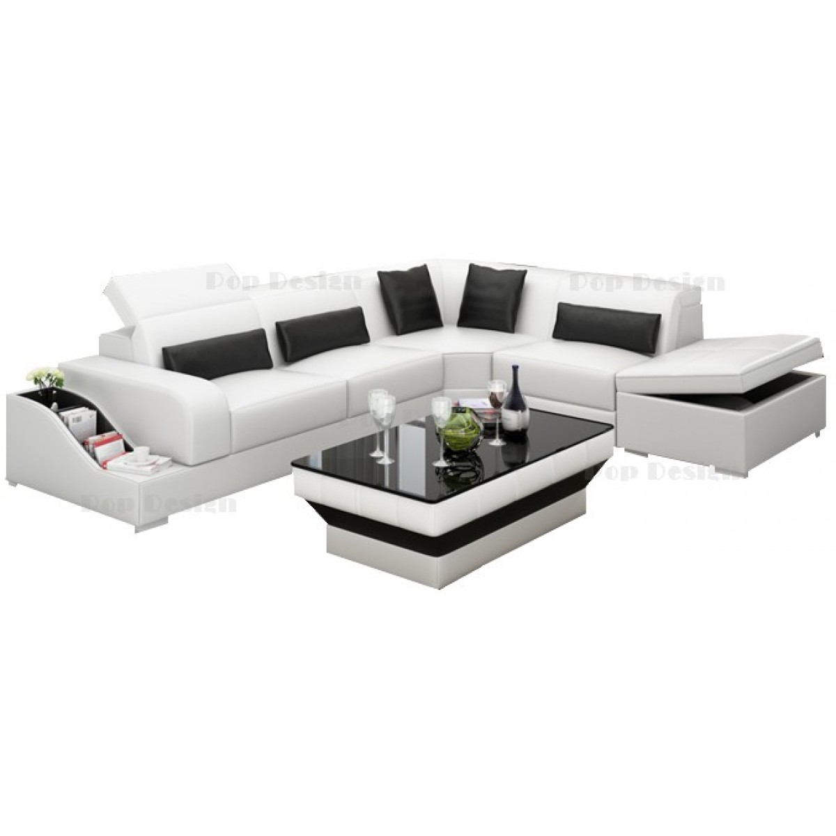 grand canap d 39 angle en cuir jazz avec coffre de rangement. Black Bedroom Furniture Sets. Home Design Ideas