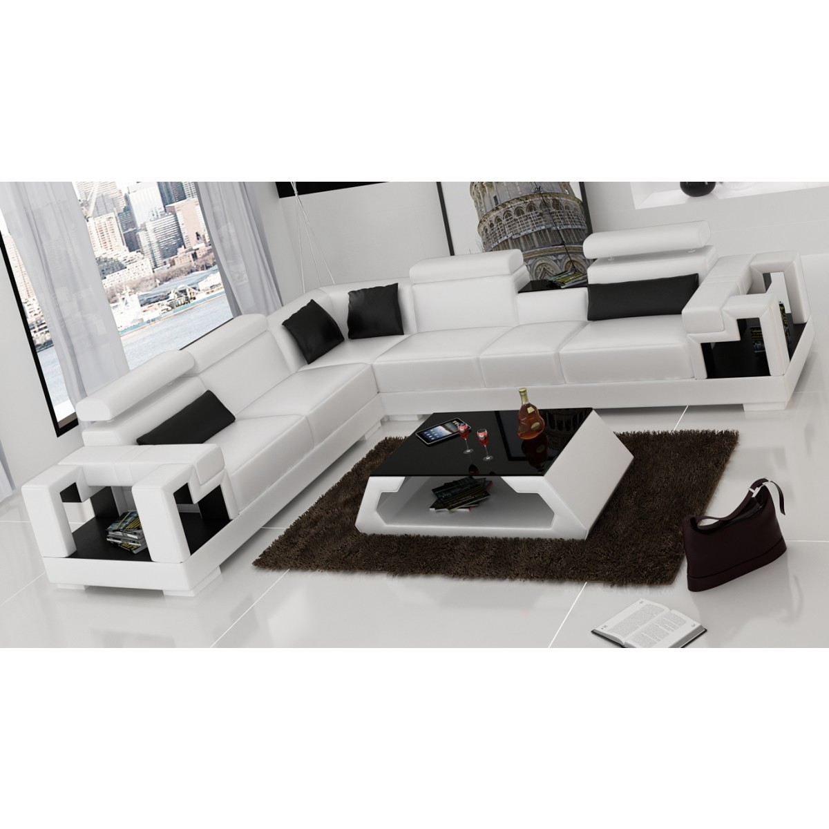 canap d 39 angle en cuir maestro canap s. Black Bedroom Furniture Sets. Home Design Ideas