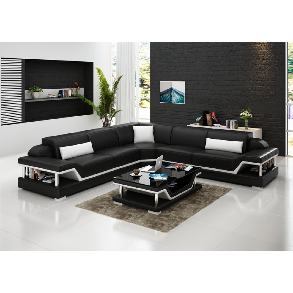 canap d 39 angle en cuir milano l relax pop. Black Bedroom Furniture Sets. Home Design Ideas