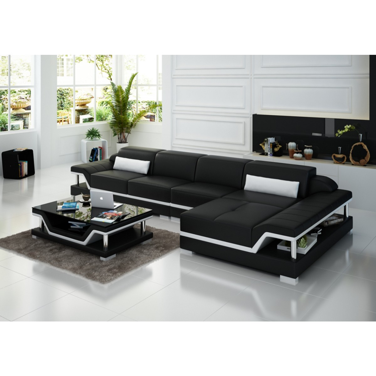 canap d 39 angle en cuir milano pop. Black Bedroom Furniture Sets. Home Design Ideas