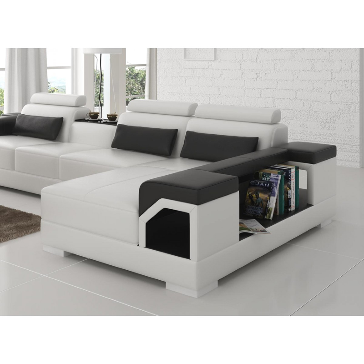 canap d 39 angle en cuir nimes option lit convertible. Black Bedroom Furniture Sets. Home Design Ideas