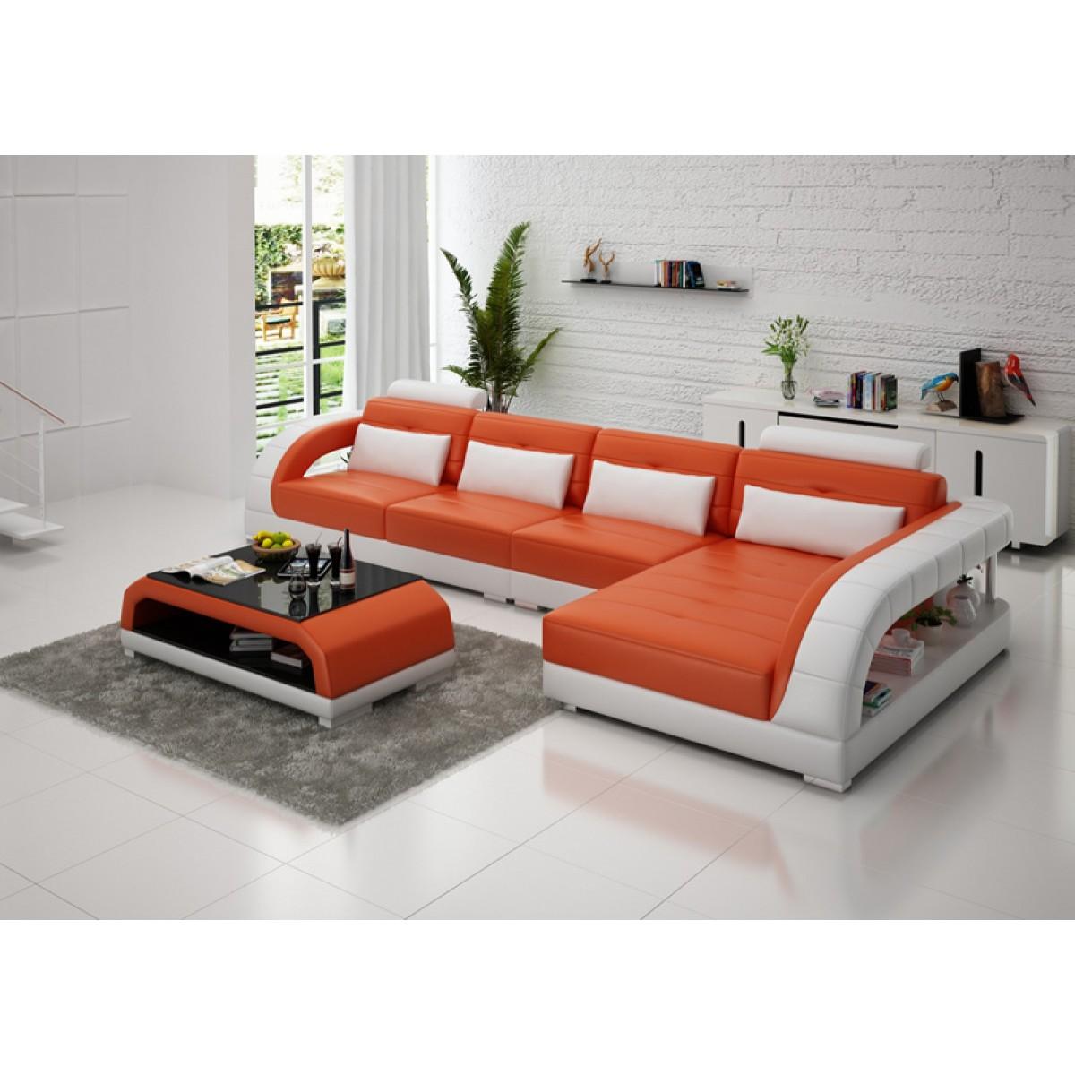 canap d 39 angle en cuir pleine fleur enzo pop. Black Bedroom Furniture Sets. Home Design Ideas