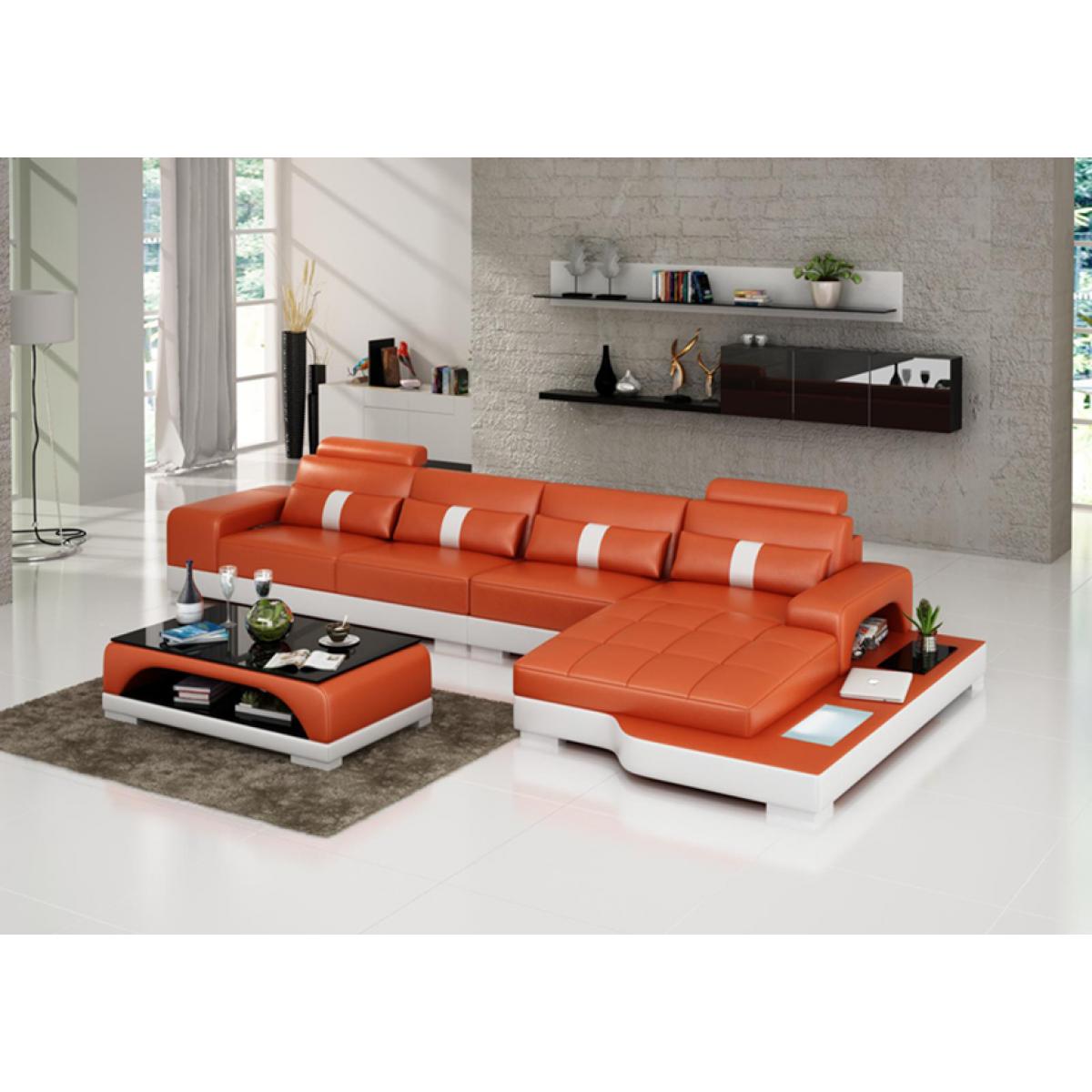 canap d 39 angle en cuir lyon avec clairage pop. Black Bedroom Furniture Sets. Home Design Ideas