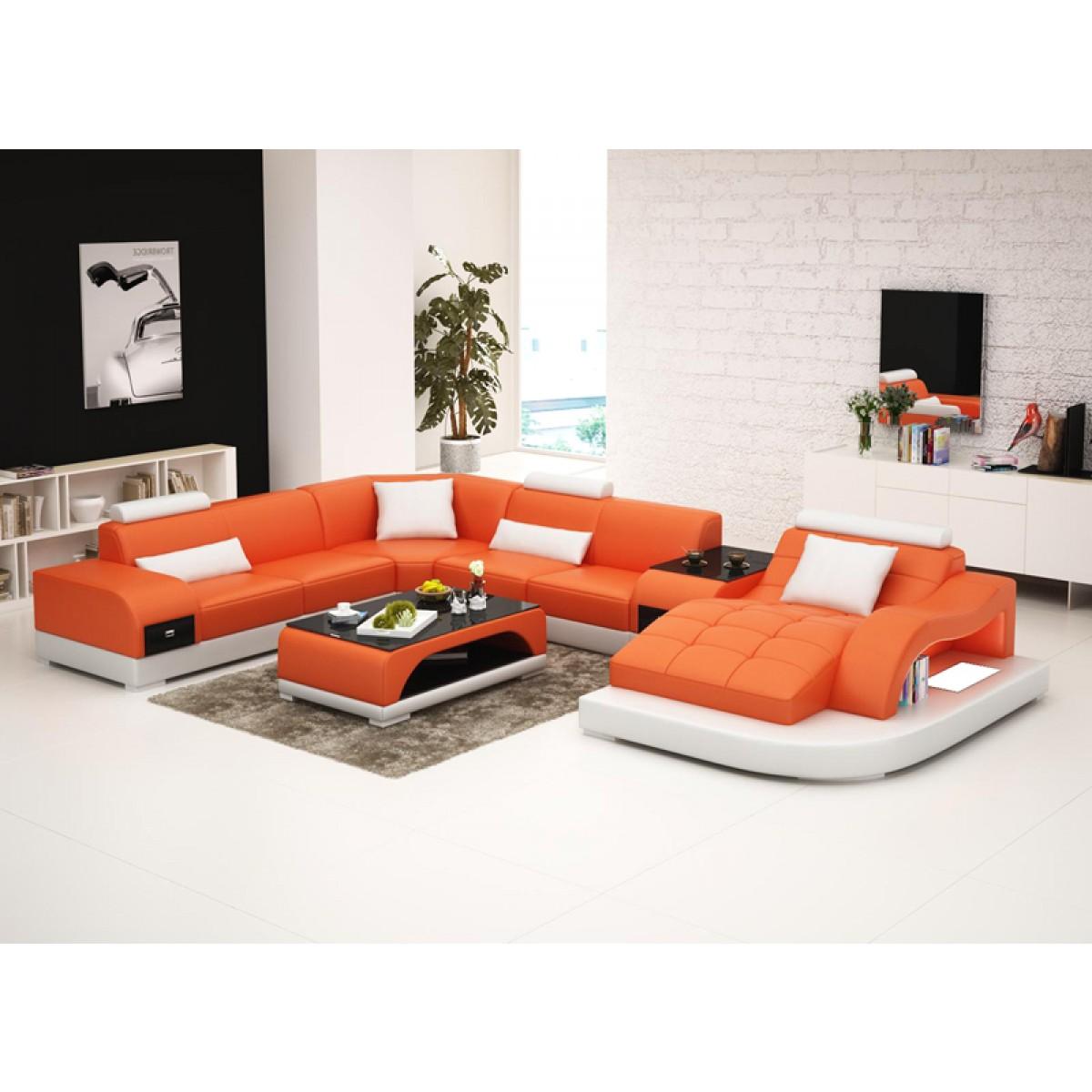 canap d 39 angle panoramique en cuir almeria table int gr e clairag. Black Bedroom Furniture Sets. Home Design Ideas