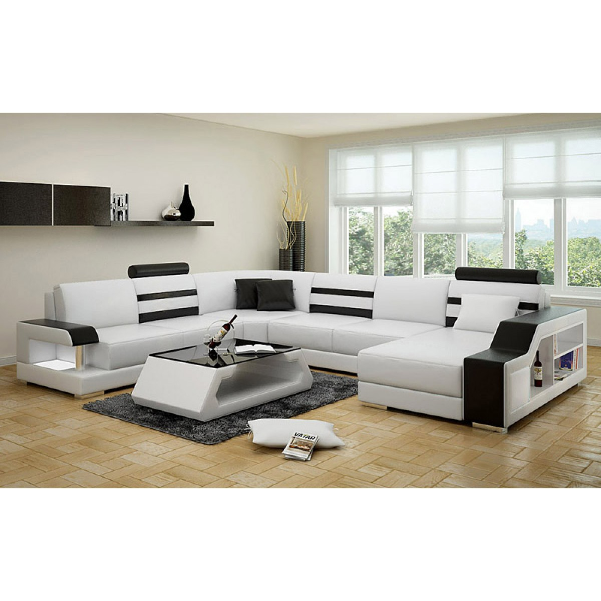 canap d 39 angle panoramique en cuir castel clairage int gr pop de. Black Bedroom Furniture Sets. Home Design Ideas