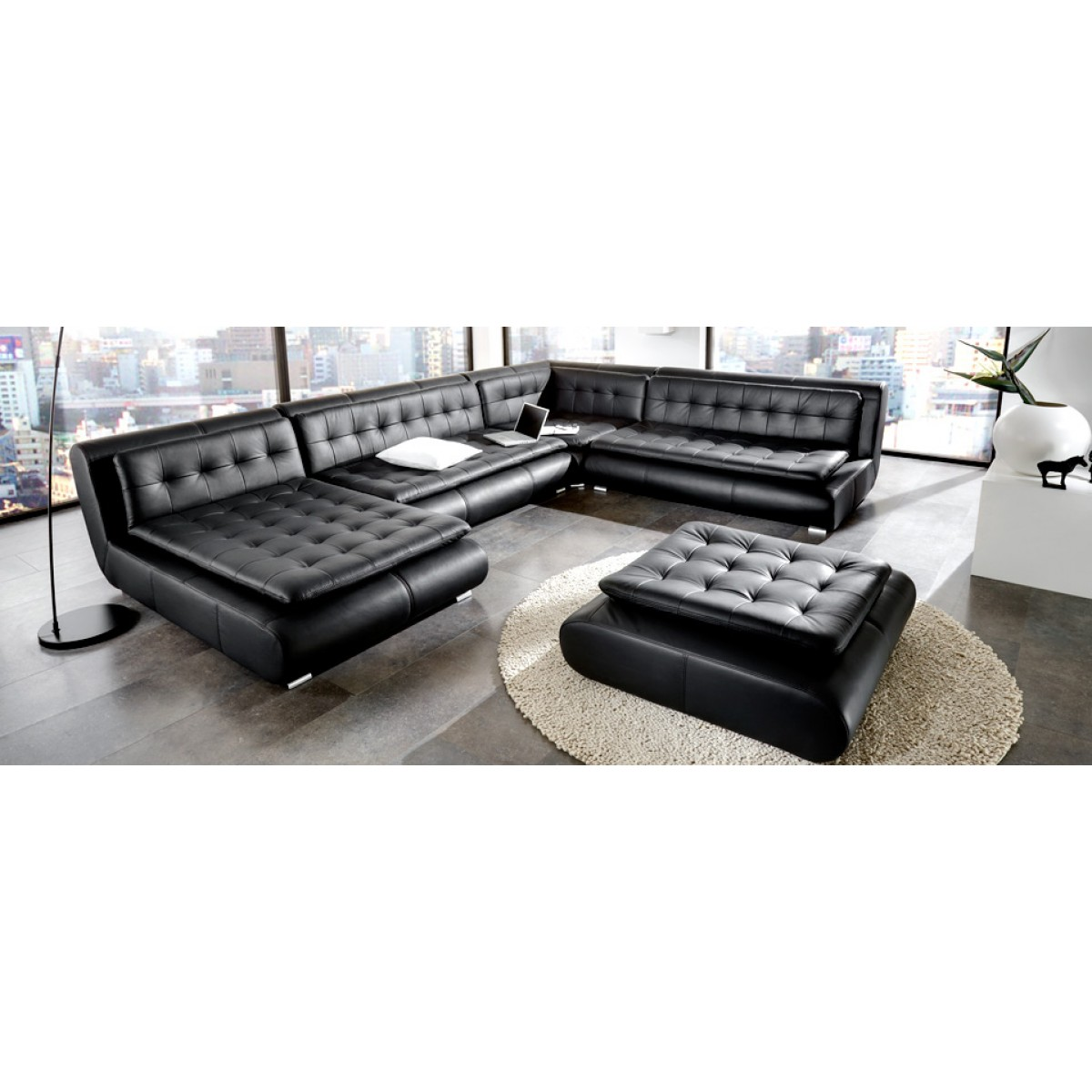 canap d 39 angle panoramique en cuir design boss pop. Black Bedroom Furniture Sets. Home Design Ideas
