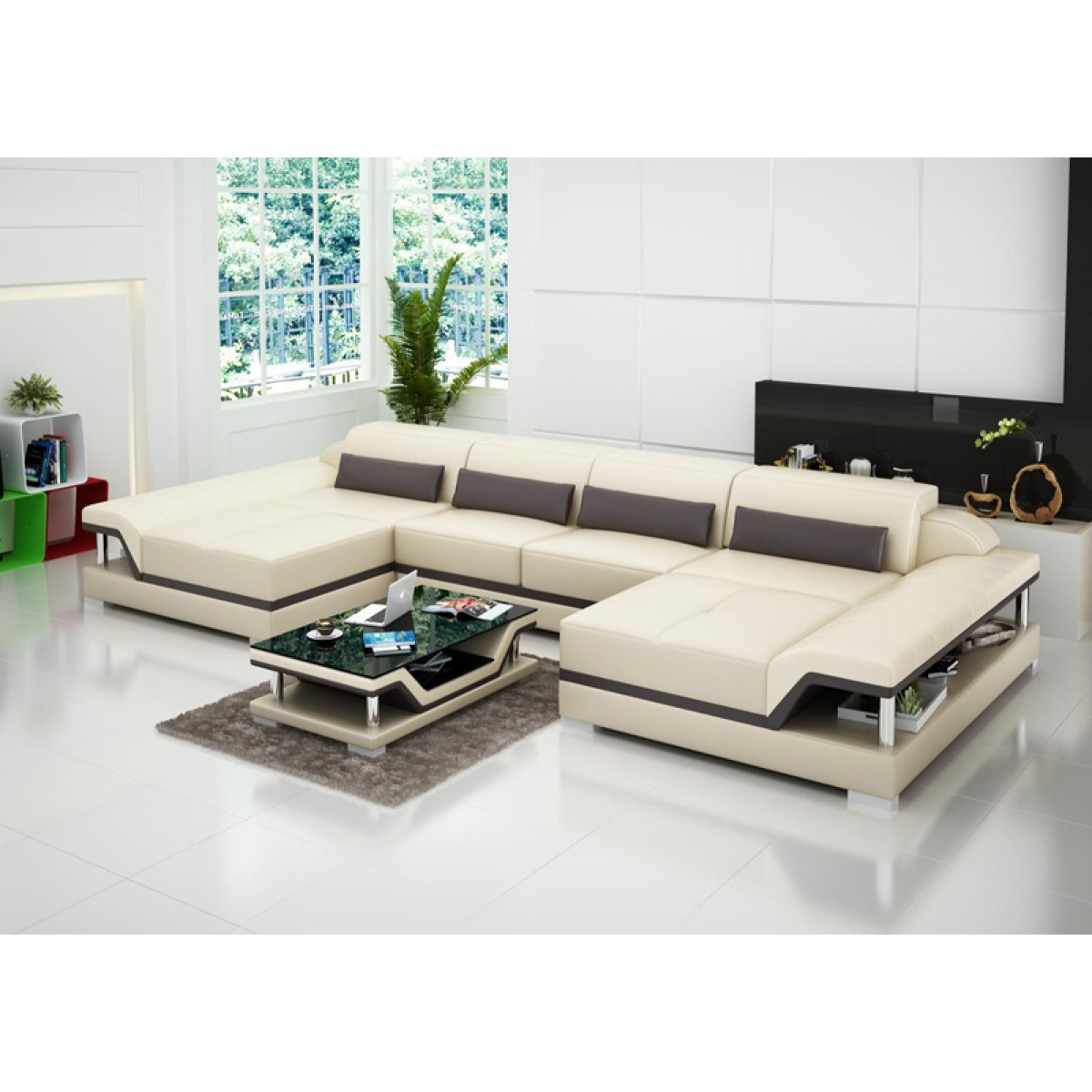 Canap d 39 angle panoramique en cuir milano pop for Canape low cost