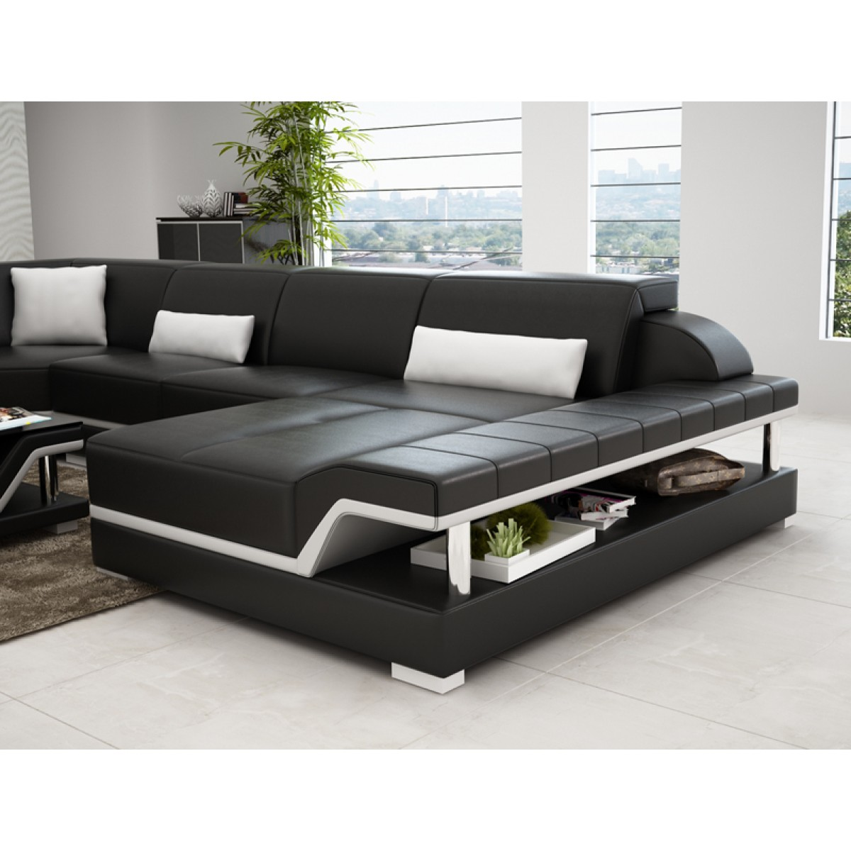 Canap d 39 angle panoramique en cuir milano xl pop - Canape double meridienne ...