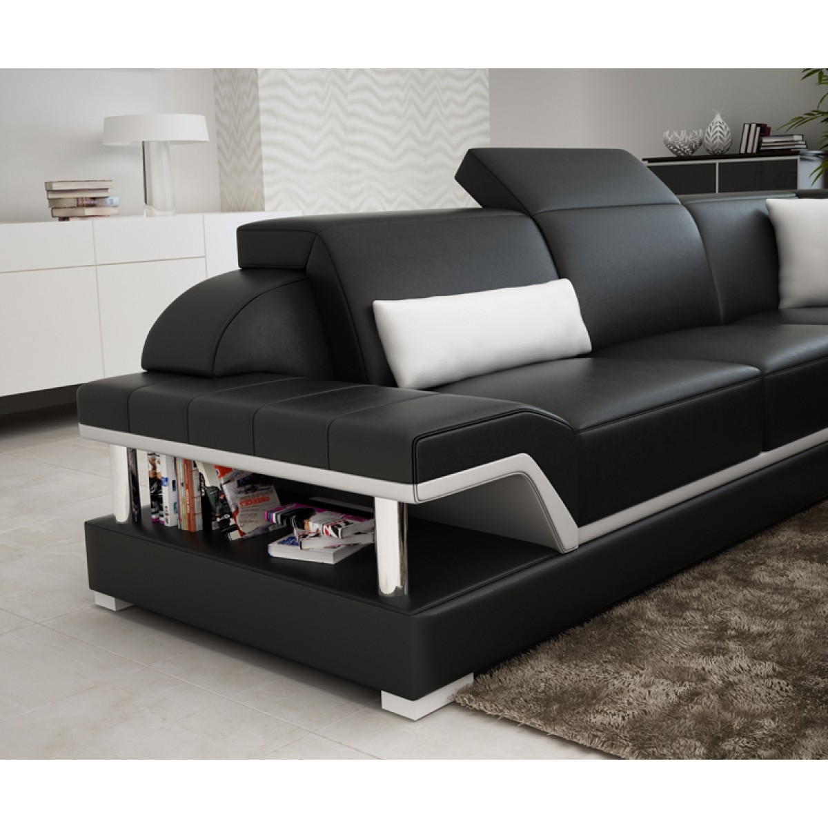 canap d 39 angle panoramique en cuir milano xl pop. Black Bedroom Furniture Sets. Home Design Ideas