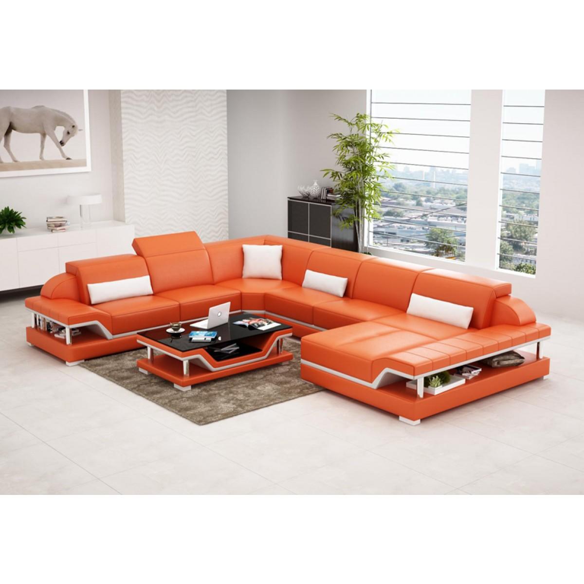 Canap d 39 angle panoramique en cuir milano xl pop - Canape panoramique en cuir ...