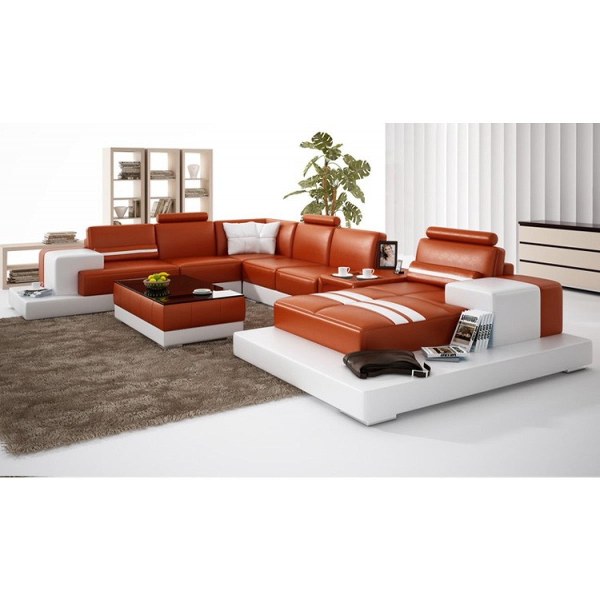canap d 39 angle panoramique en cuir v ritable pino pop. Black Bedroom Furniture Sets. Home Design Ideas