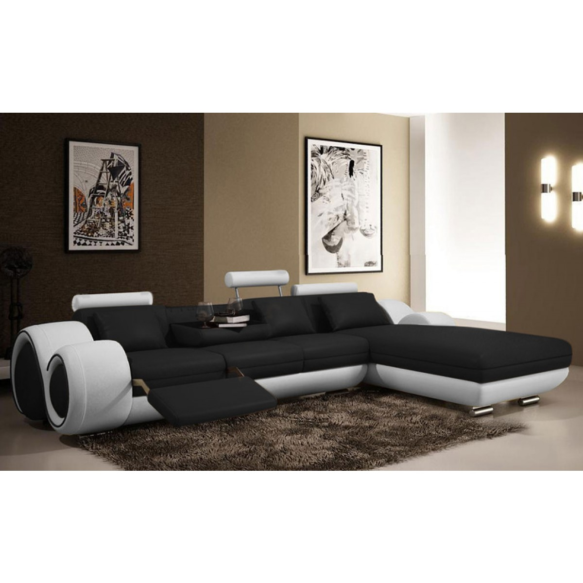 Canap d 39 angle relax en cuir 5 places roll for Canape 5places