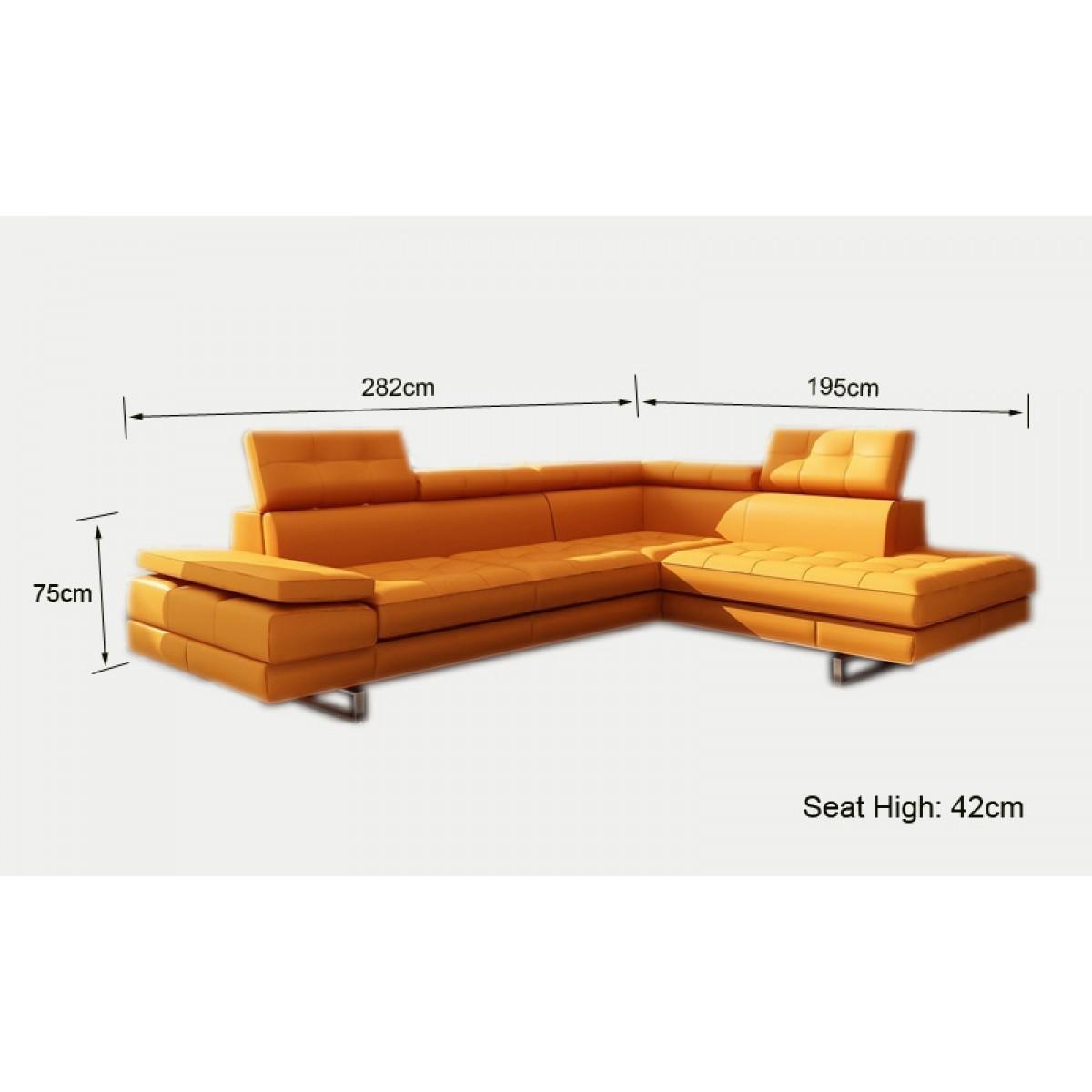 Canap d 39 angle en cuir roanne canap s d 39 angle en cuir - Dimension canape d angle ...
