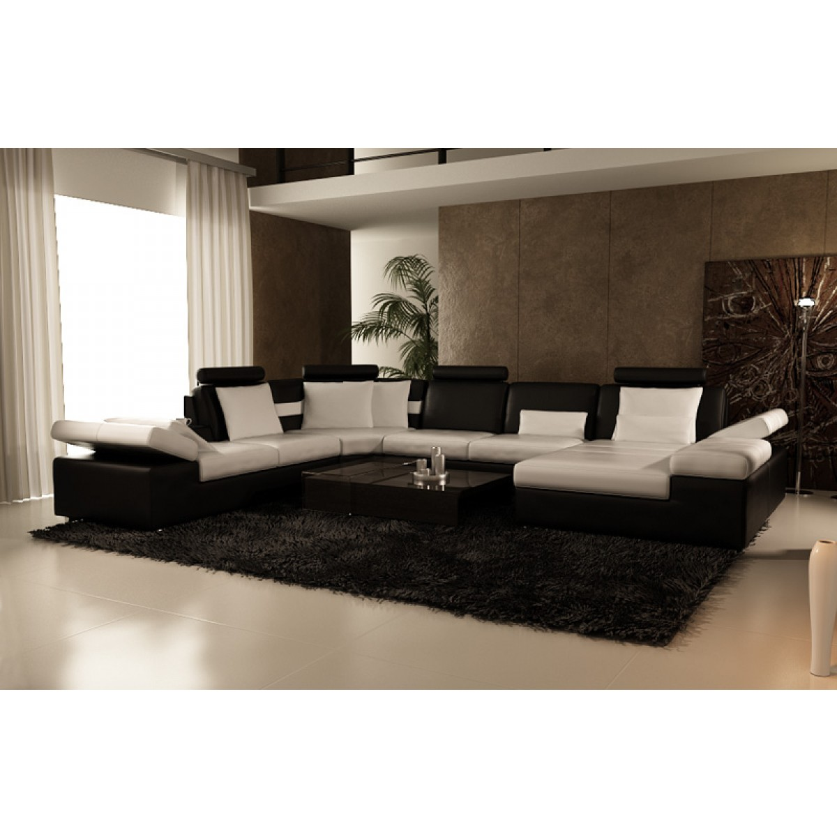 canap d 39 angle panoramique en cuir monaco. Black Bedroom Furniture Sets. Home Design Ideas