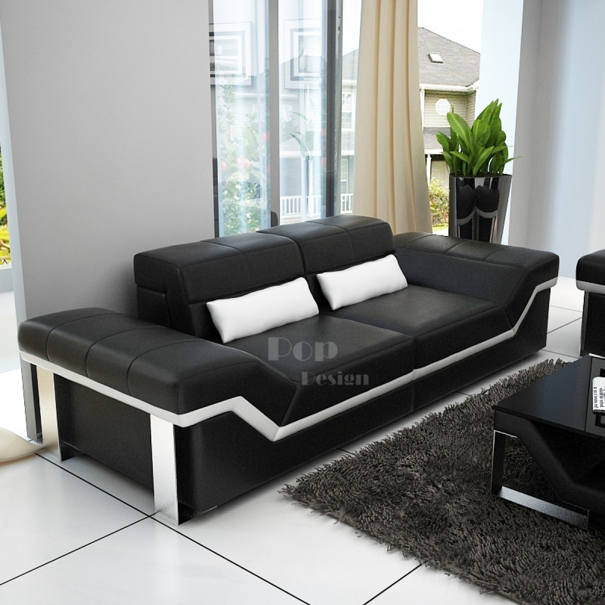 Canap design 3 places en cuir pleine fleur torino pop - Canape design 3 places ...