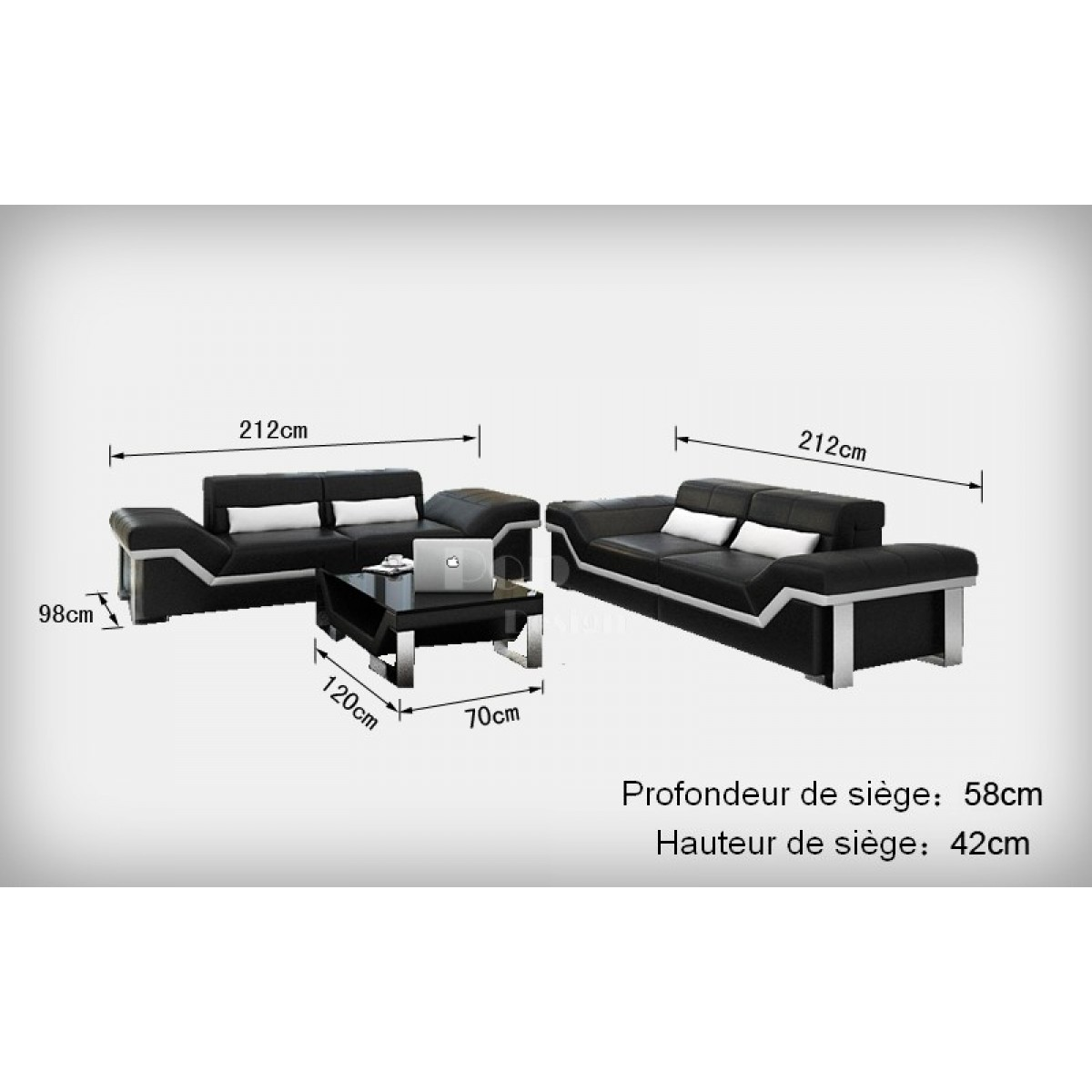 canap design 3 places en cuir pleine fleur torino pop. Black Bedroom Furniture Sets. Home Design Ideas