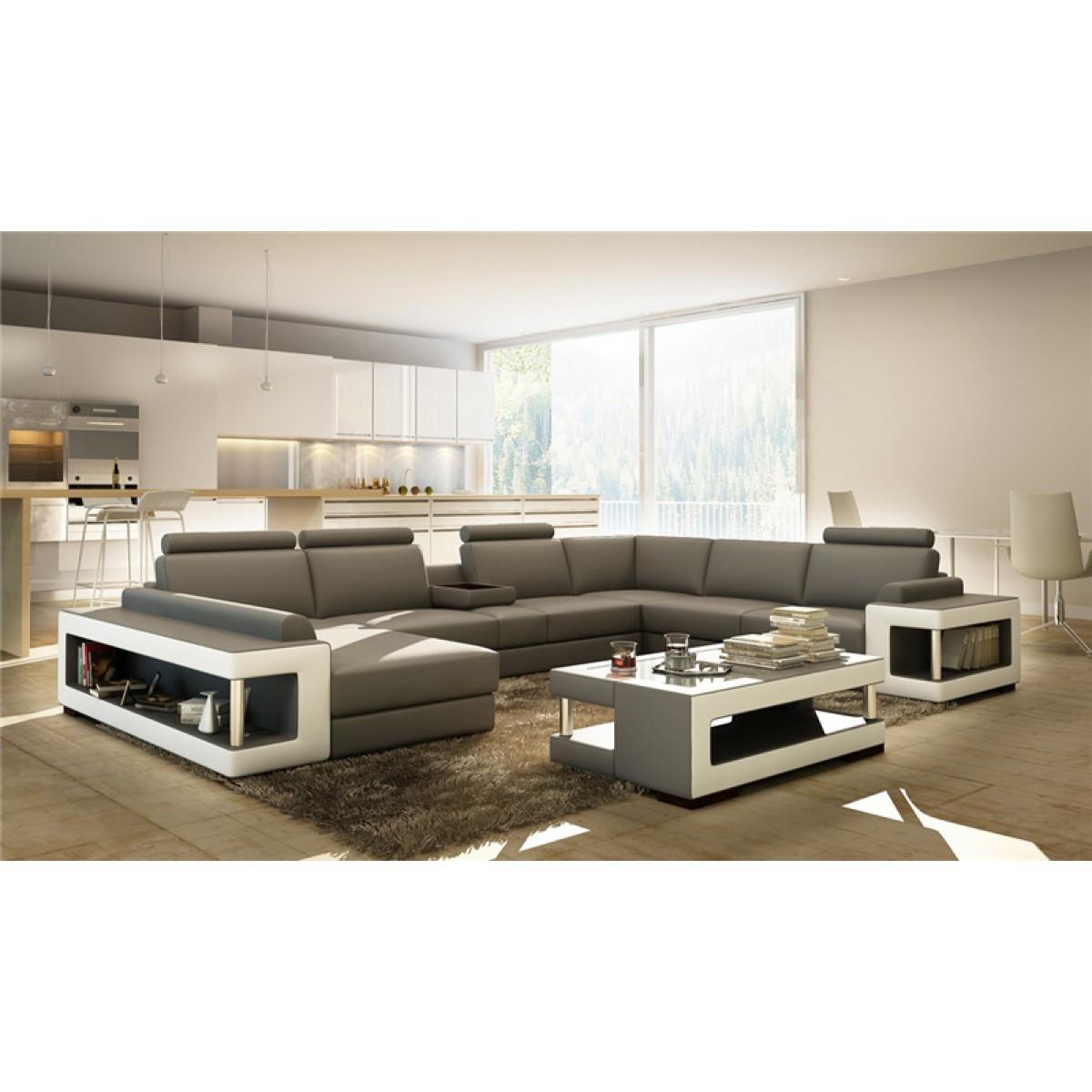 canap en u panoramique en cuir vara canap s. Black Bedroom Furniture Sets. Home Design Ideas
