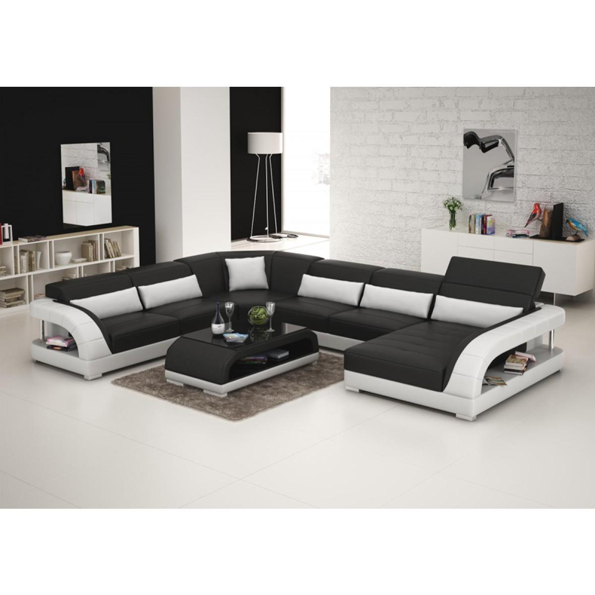canap panoramique en cuir carla. Black Bedroom Furniture Sets. Home Design Ideas