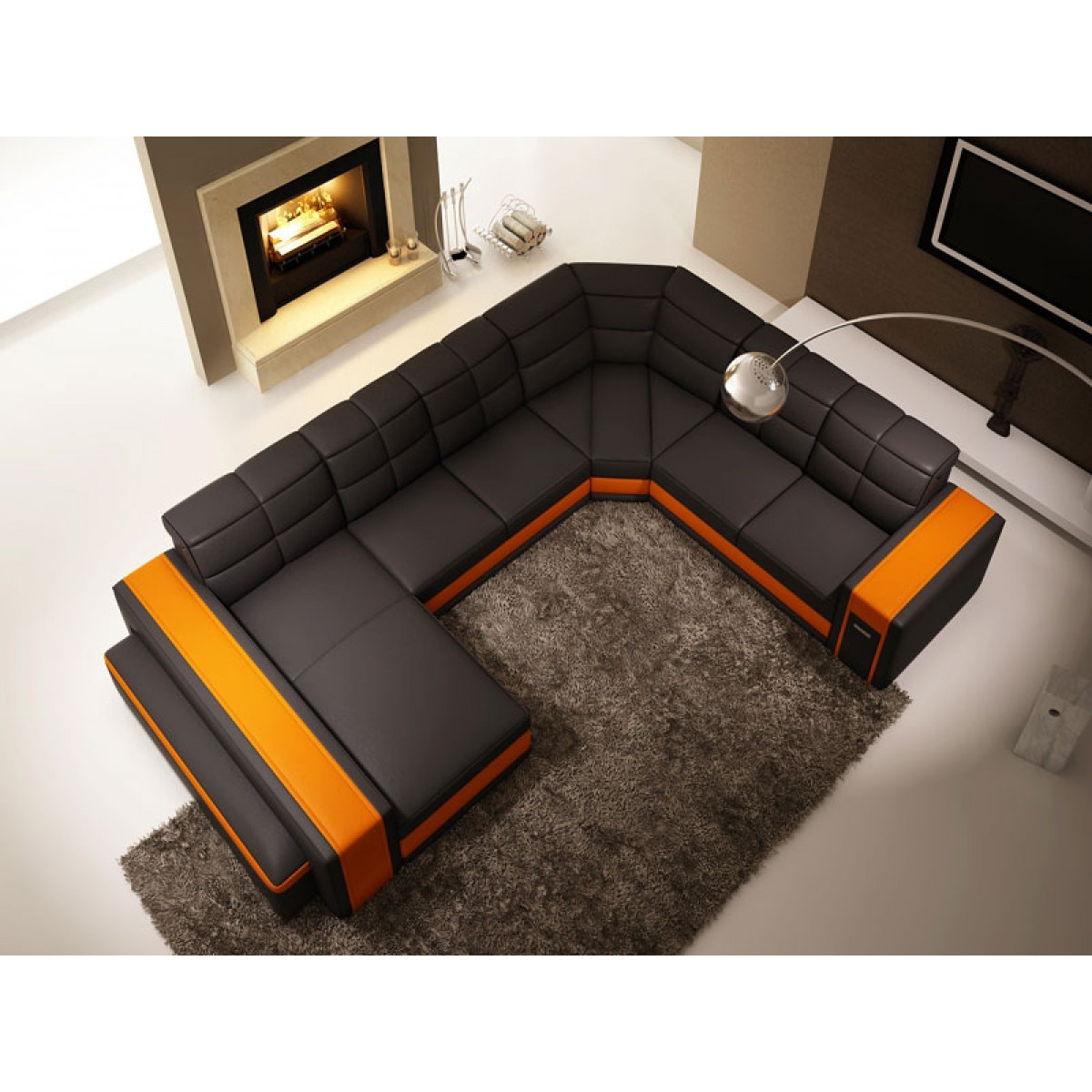 canap panoramique en cuir chambery canap s en u. Black Bedroom Furniture Sets. Home Design Ideas