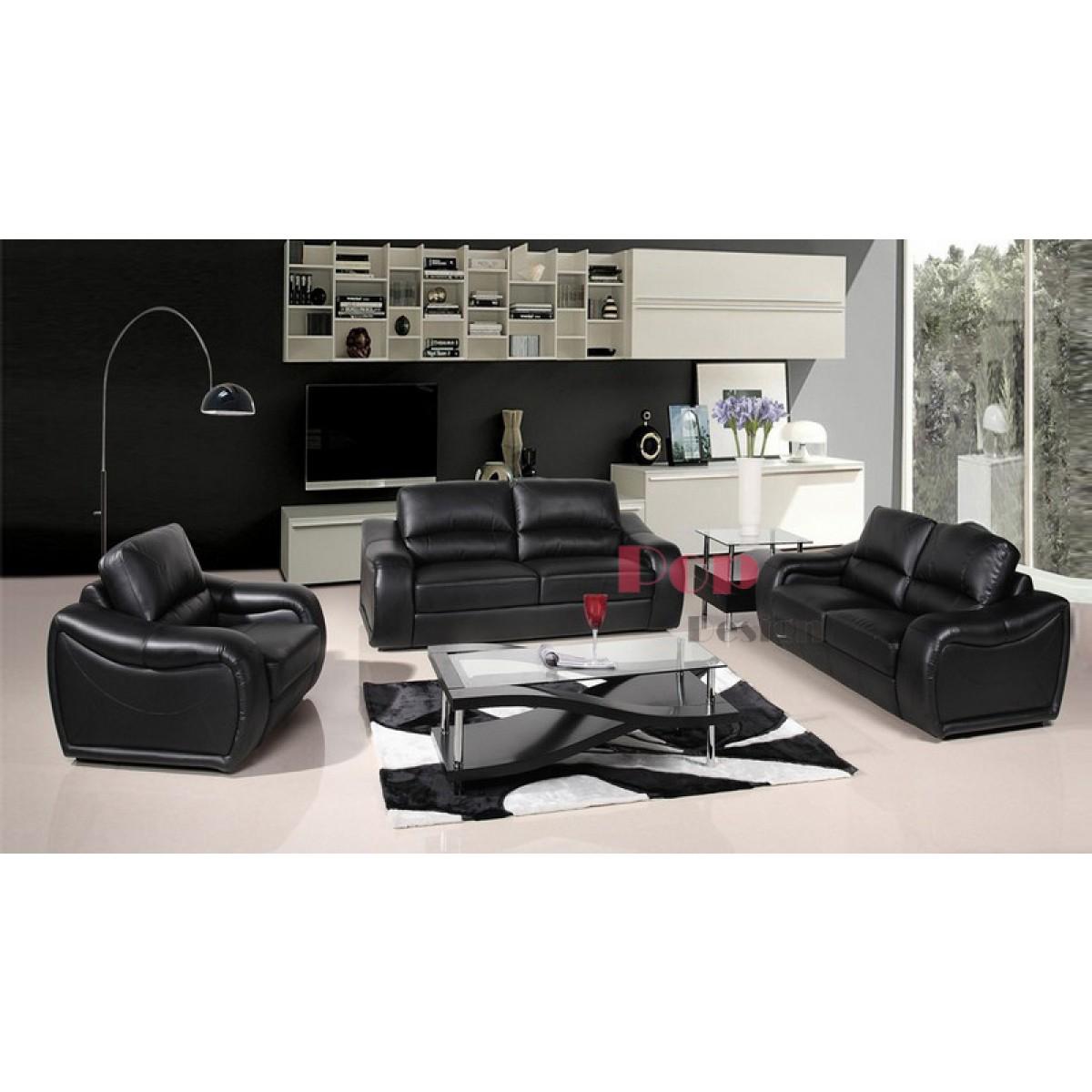canap 3 places en cuir v ritable office pop. Black Bedroom Furniture Sets. Home Design Ideas