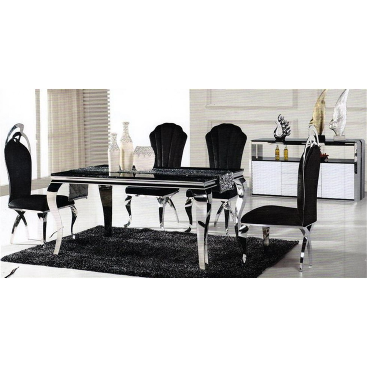 Chaises en inox camille lot de 6 for Table a manger plus 6 chaise
