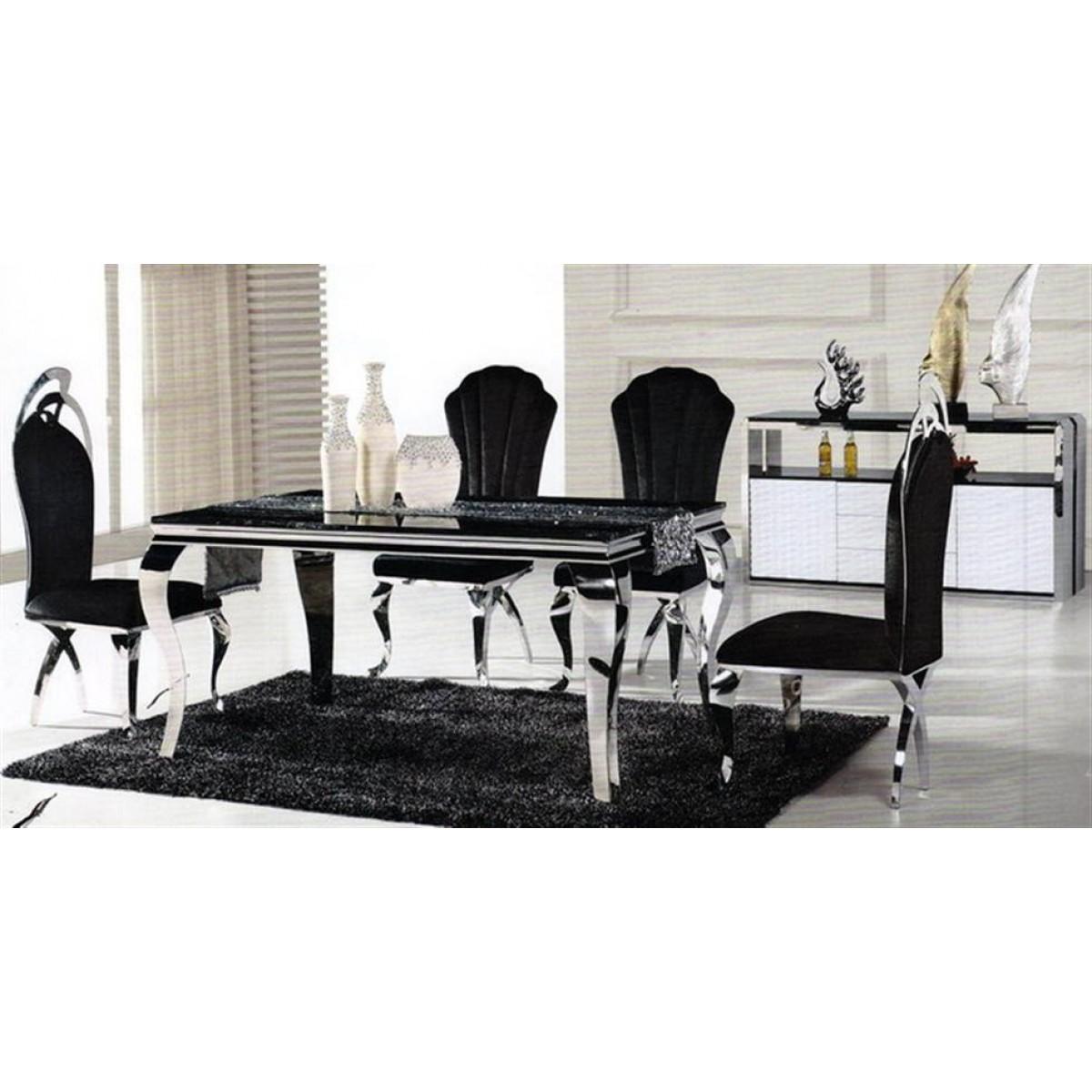 chaises en inox camille lot de 6. Black Bedroom Furniture Sets. Home Design Ideas