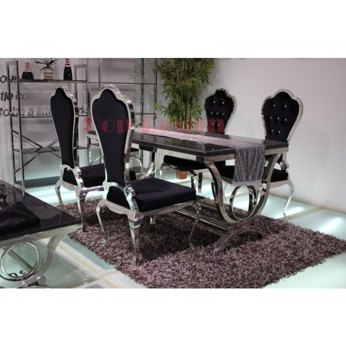 chaises de salle manger en inox virtuose lot de 6. Black Bedroom Furniture Sets. Home Design Ideas