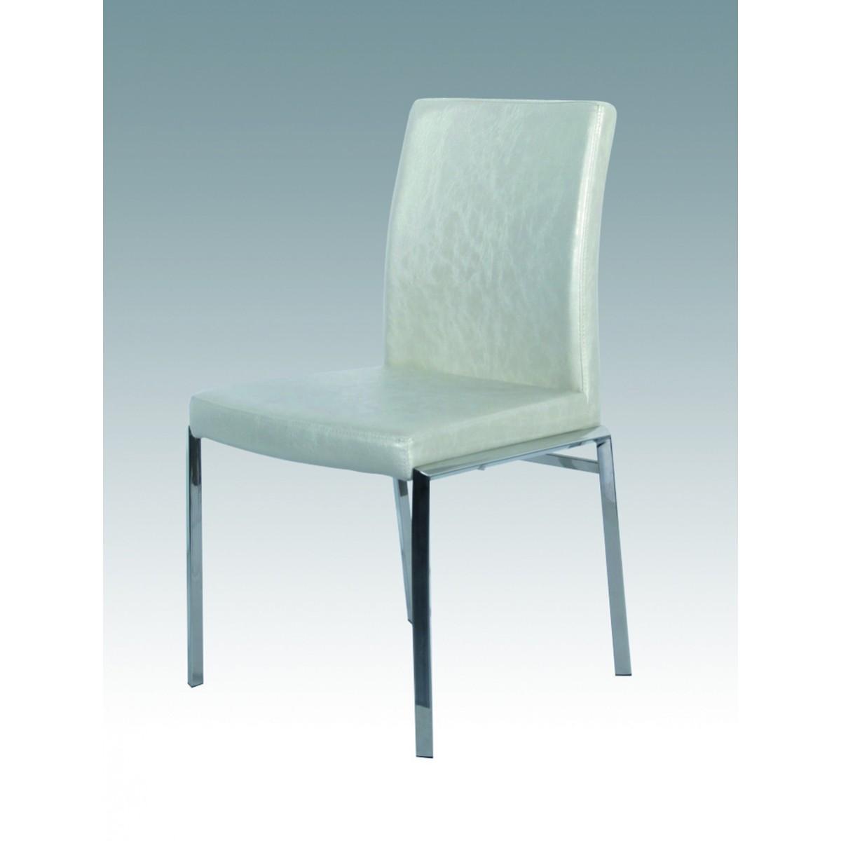 Lot de 4 chaises de salle manger en inox et simili cuir for Chaise de salle a manger simili cuir