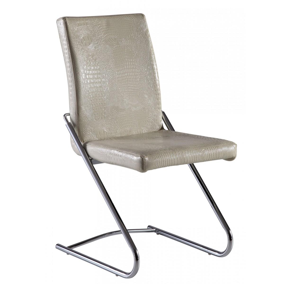 Lot de 6 chaises de salle manger en inox et simili cuir for Chaise de salle a manger en cuir
