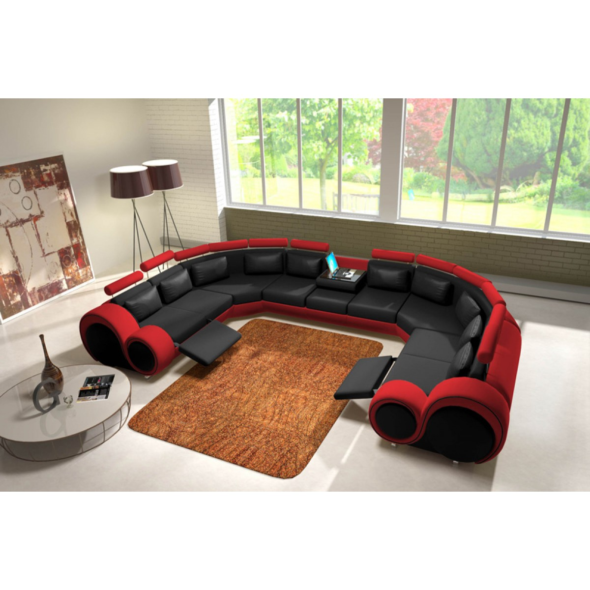 canap panoramique en cuir rolls 9 places relax. Black Bedroom Furniture Sets. Home Design Ideas
