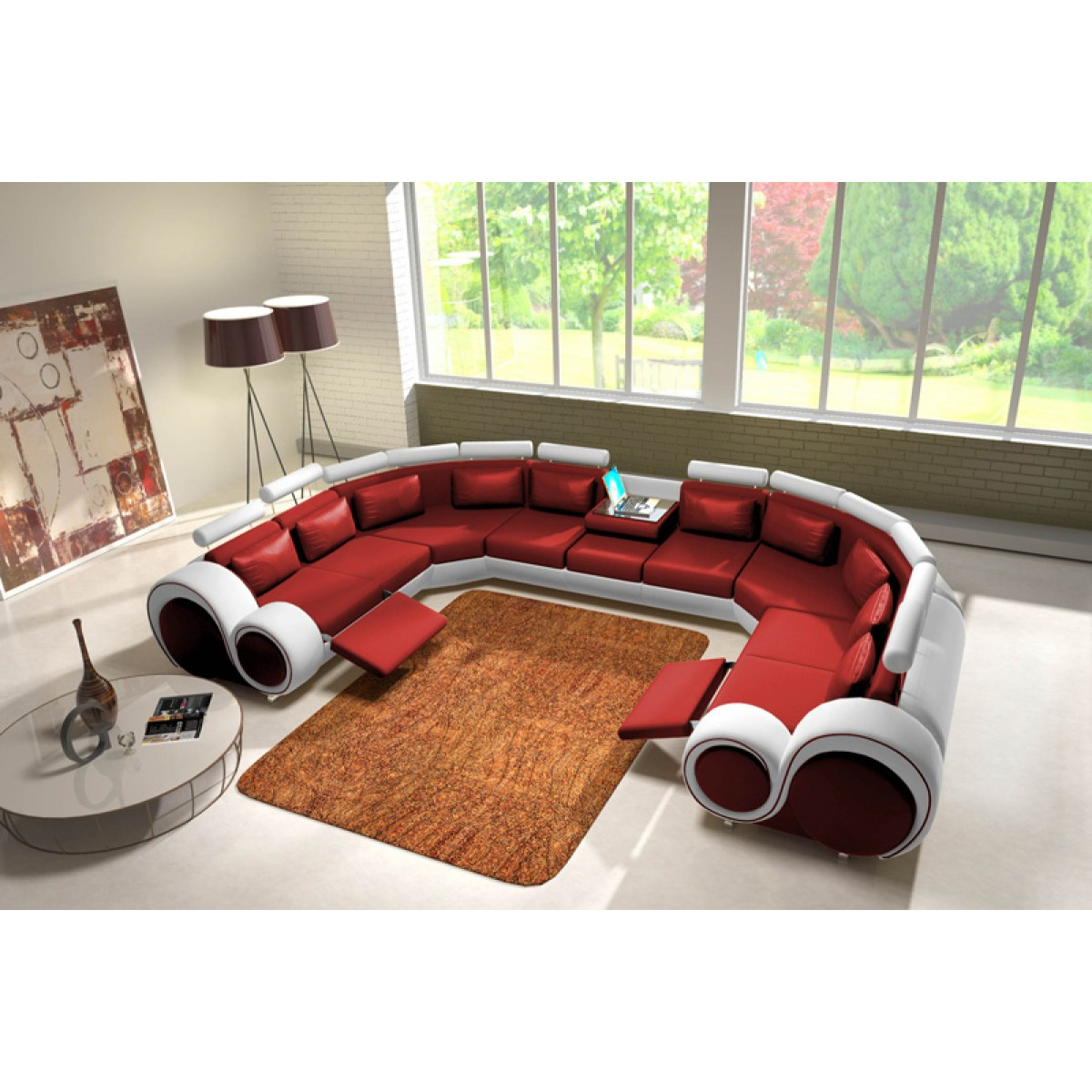 Canap panoramique en cuir rolls 9 places relax canap s for Canape 9 10 places