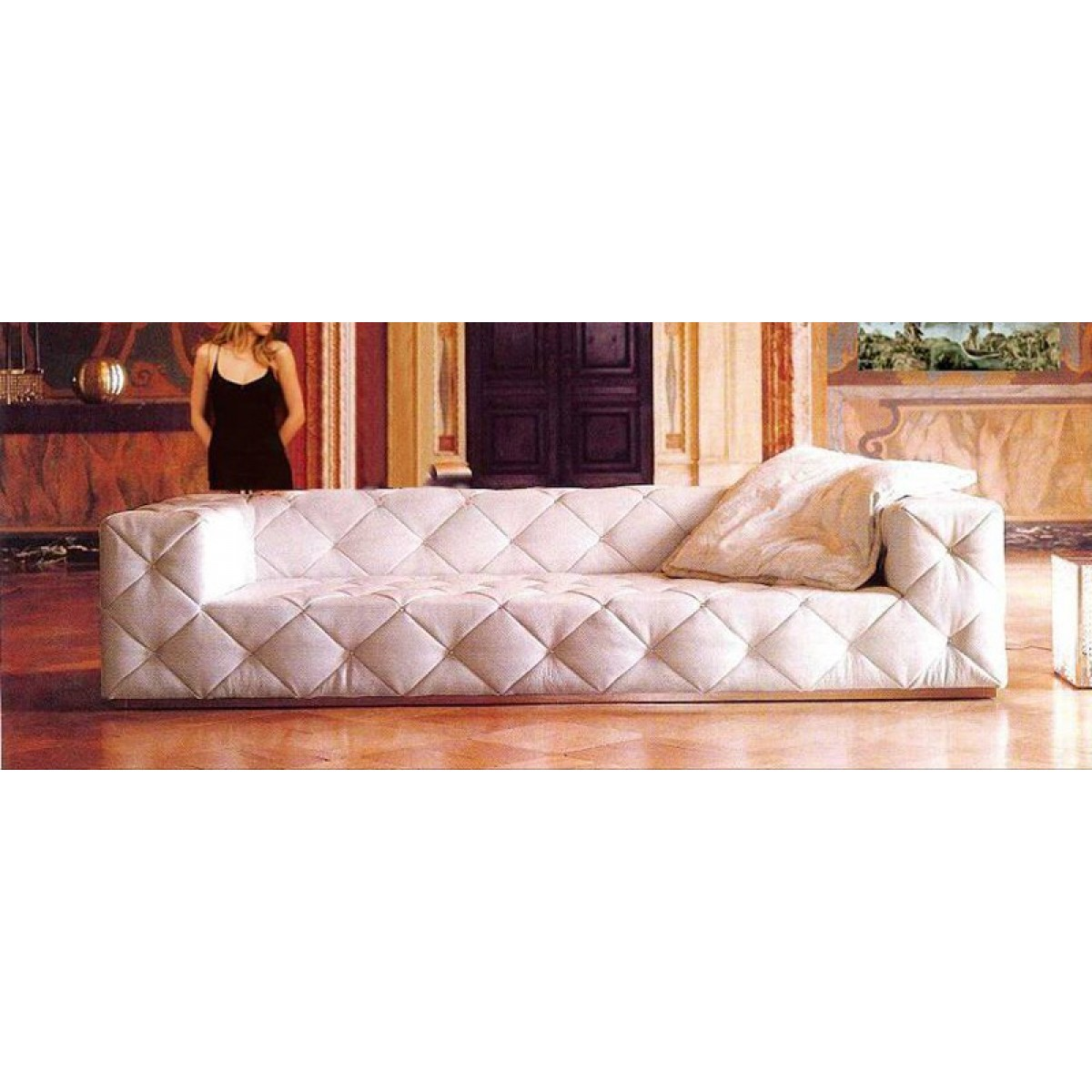 Canap 3 places en cuir pleine fleur chesterfield carre pop design - Canape chesterfield cuir ...