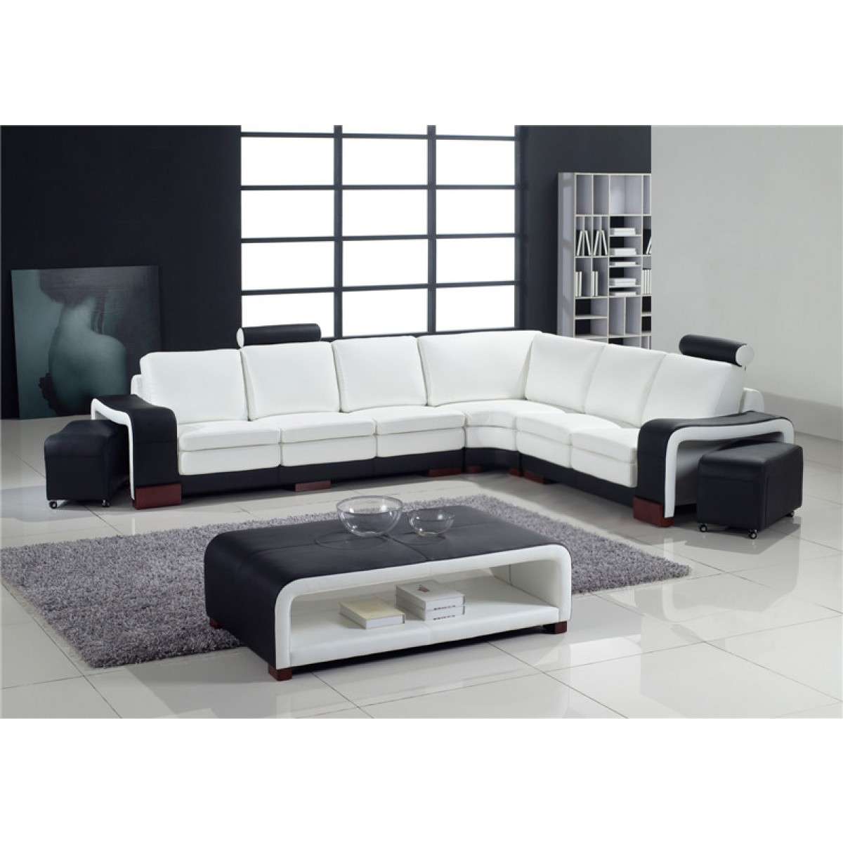 grand canap d 39 angle en cuir pleine fleur fabio option lit convertib. Black Bedroom Furniture Sets. Home Design Ideas