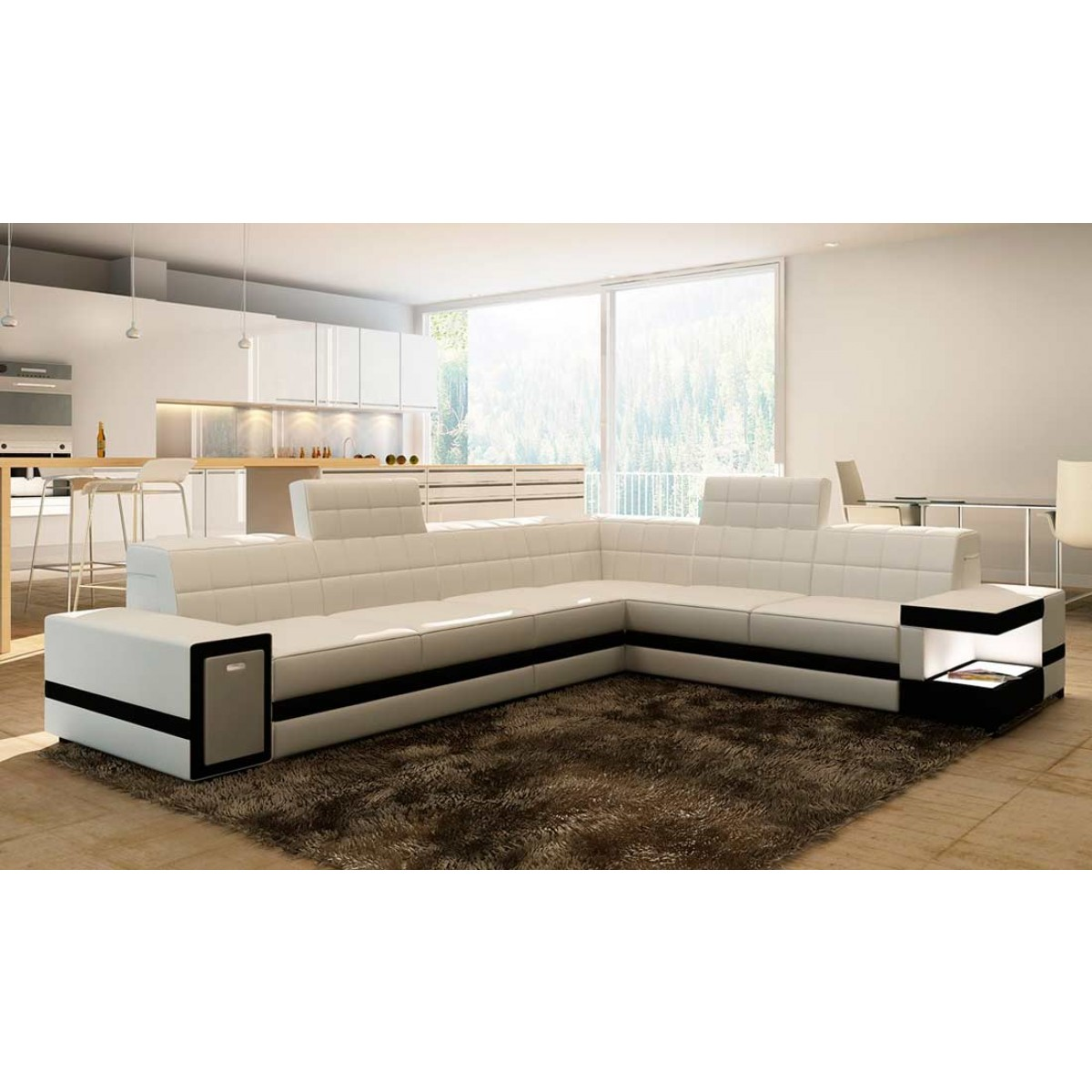 grand canap d 39 angle en cuir brest pop. Black Bedroom Furniture Sets. Home Design Ideas
