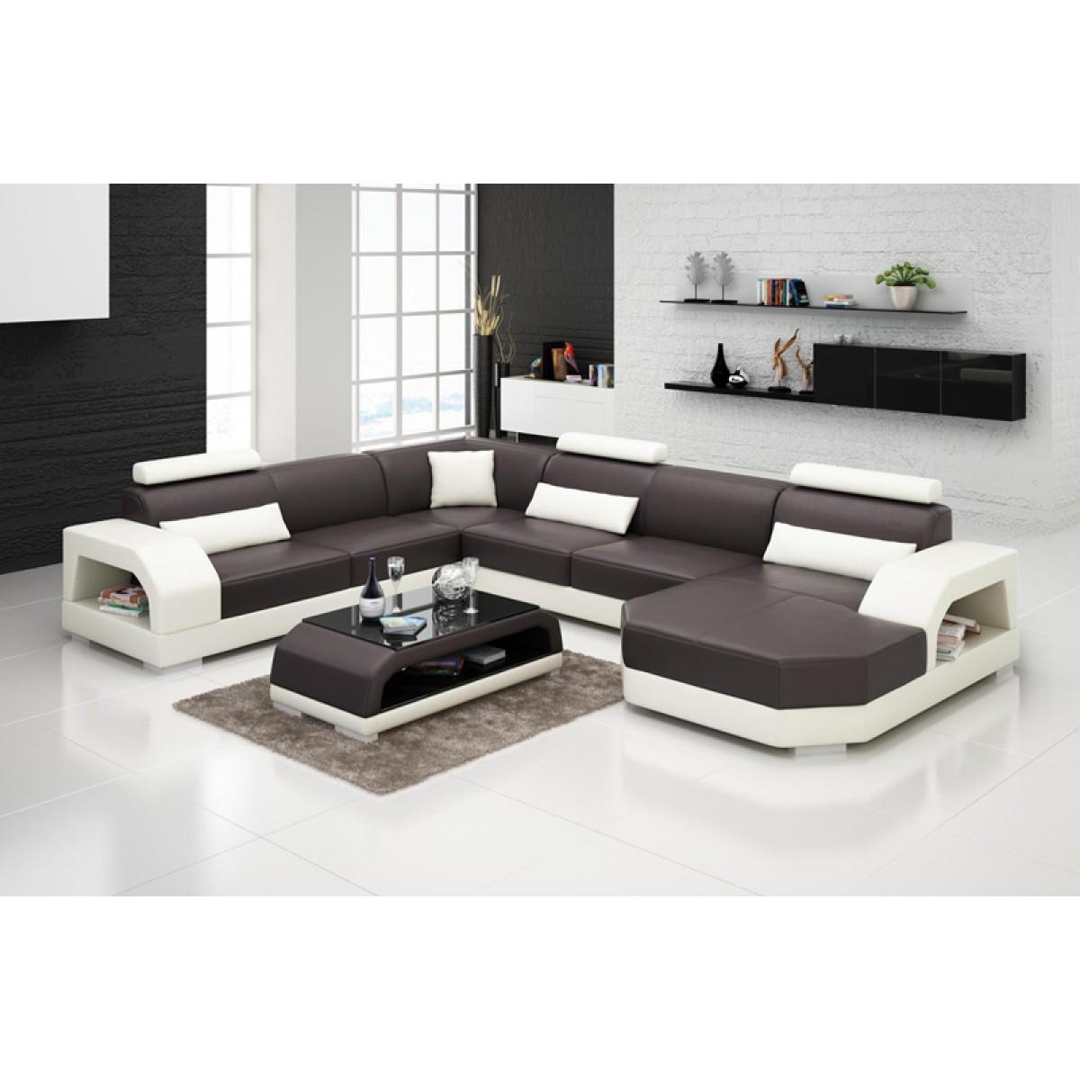 canap d 39 angle panoramique en cuir pleine fleur paris pop. Black Bedroom Furniture Sets. Home Design Ideas