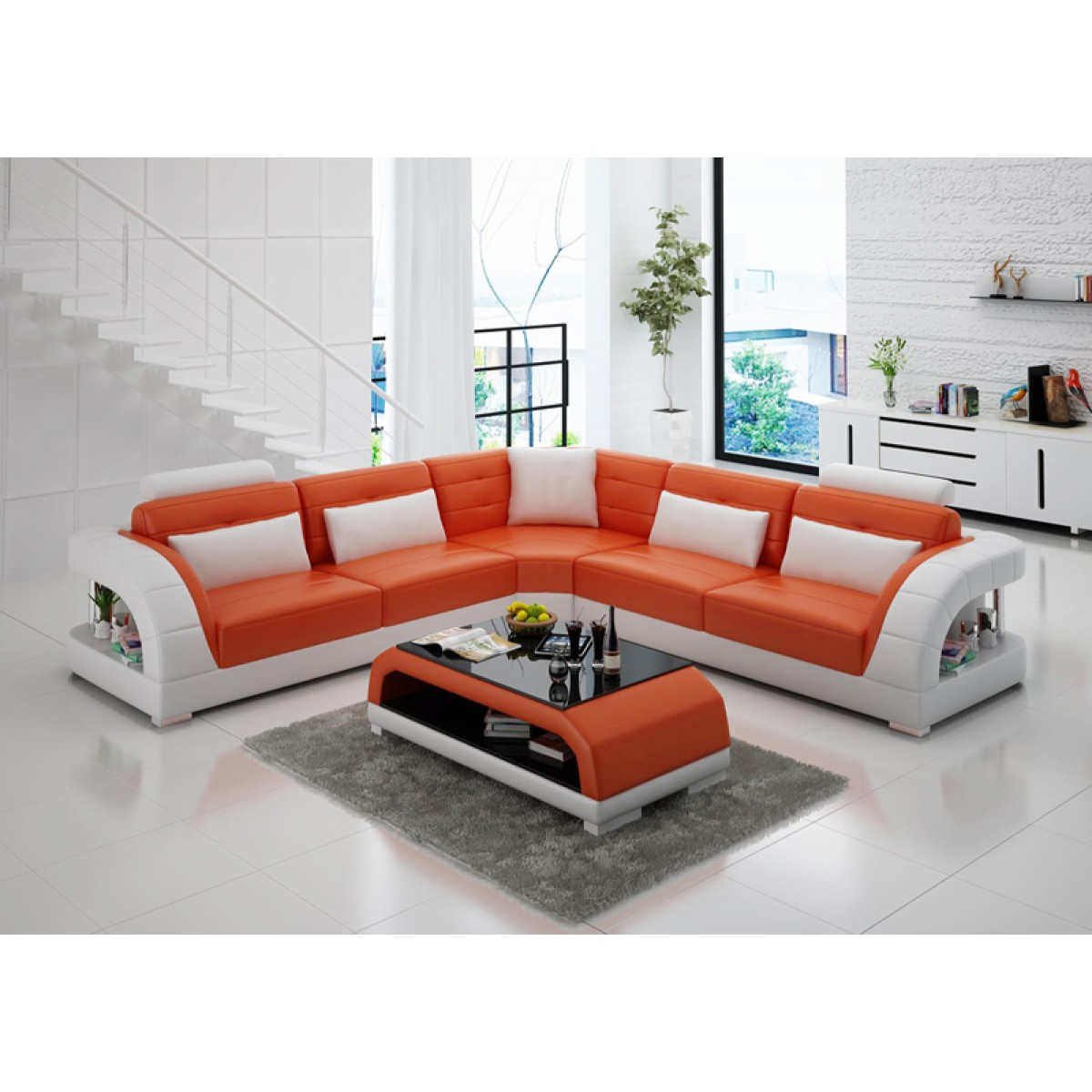Grand canap d 39 angle en cuir enzo pop - Canape d angle orange ...
