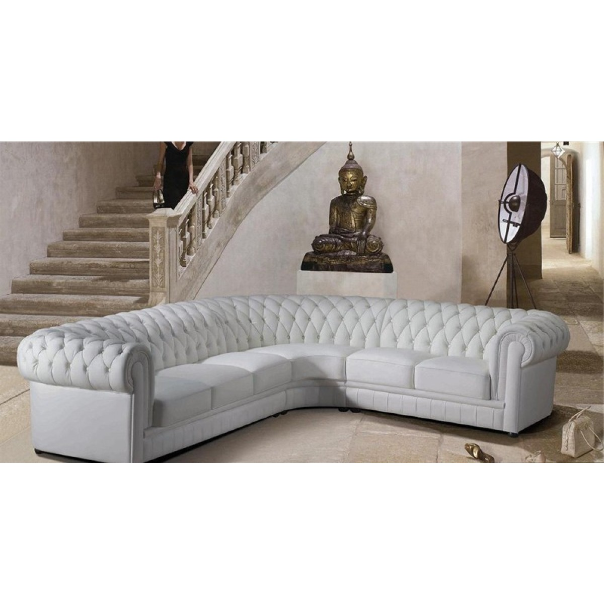 Grand canap d 39 angle en cuir pleine fleur chesterfield pop - Canape chesterfield cuir gris ...