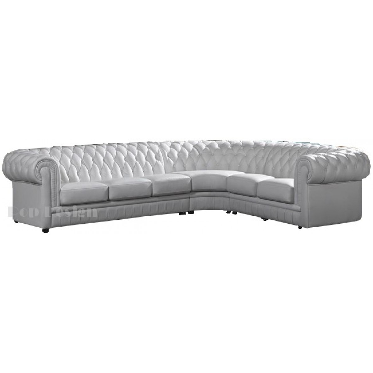 Grand canap d 39 angle en cuir pleine fleur chesterfield for Canape d angle chesterfield