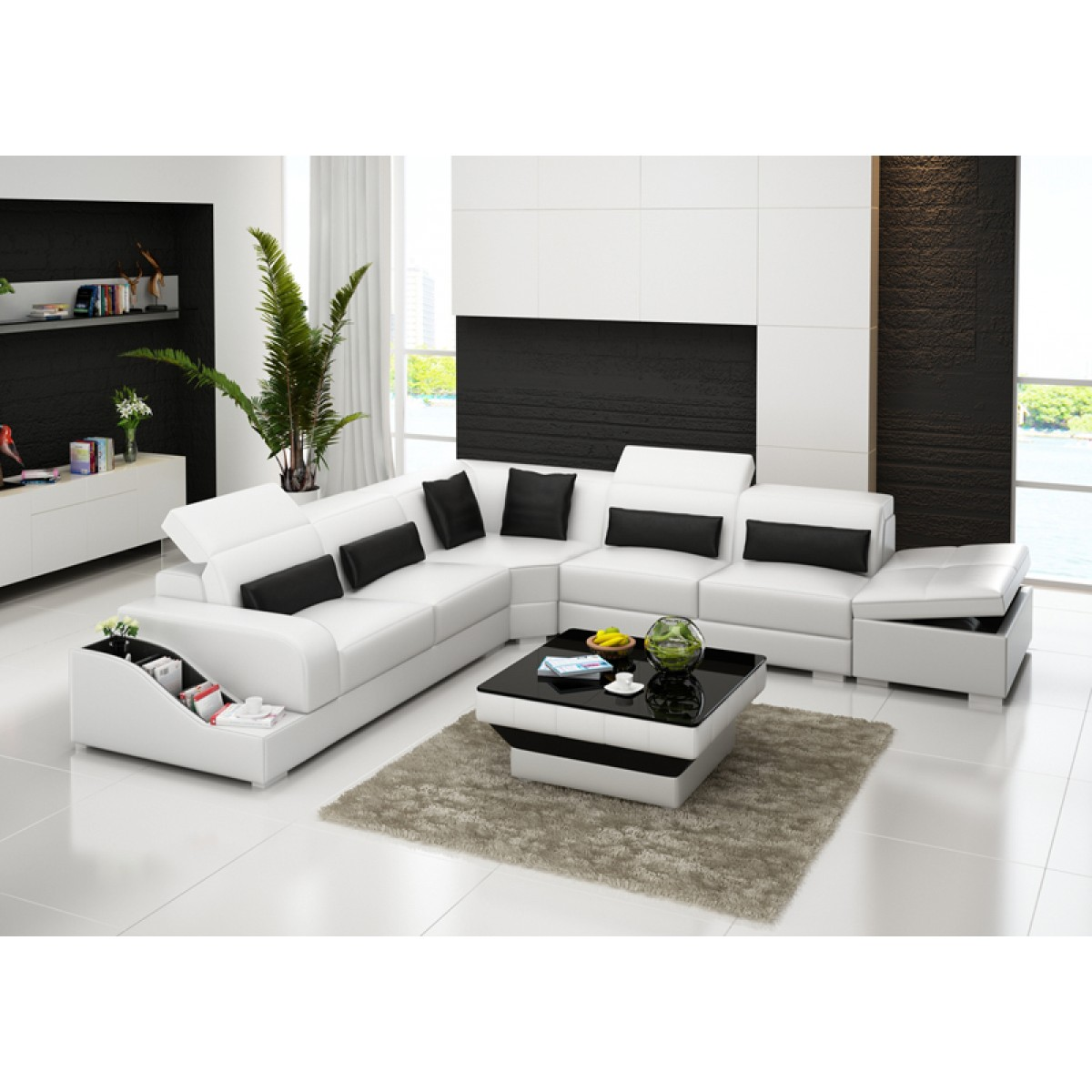 grand canap d 39 angle en cuir pleine fleur jazz coffre int gr pop. Black Bedroom Furniture Sets. Home Design Ideas