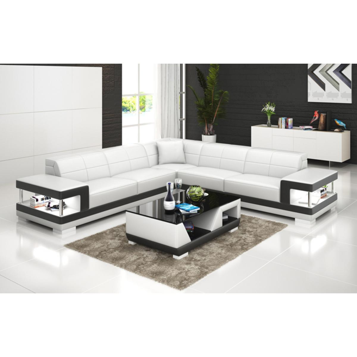 Grand canap d 39 angle en cuir lille avec clairage pop - Grand meuble d angle ...