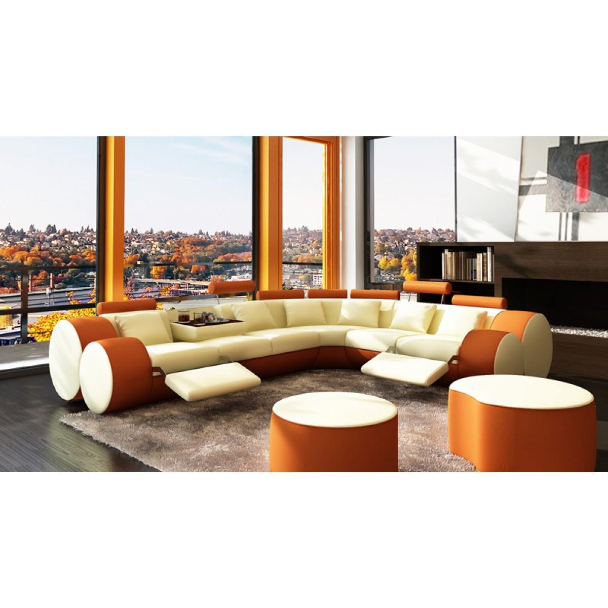Grand canap d 39 angle relax en cuir 6 places roll - Grande marque de canape ...