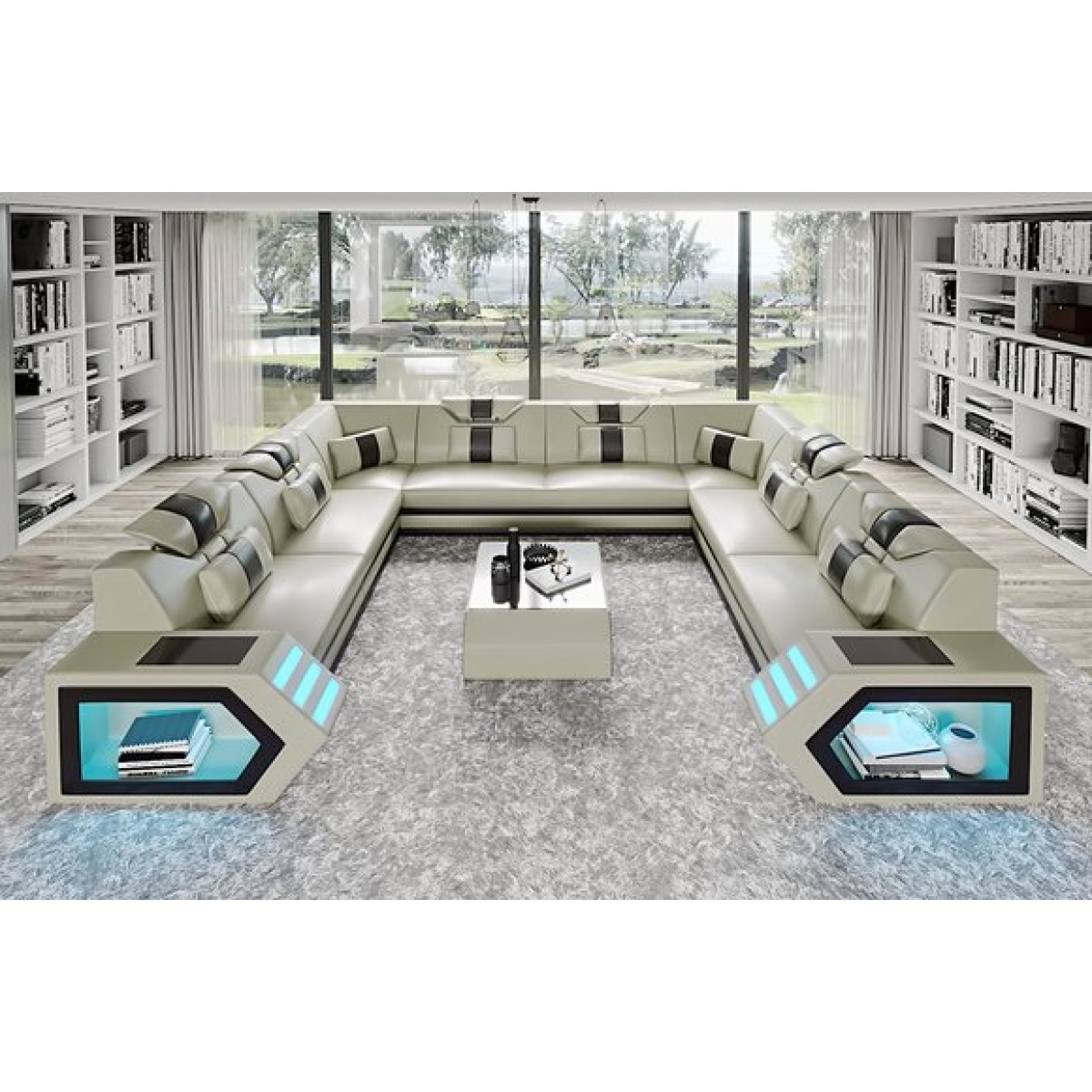 Canapé panoramique en cuir Luma (8 places) - Canapés