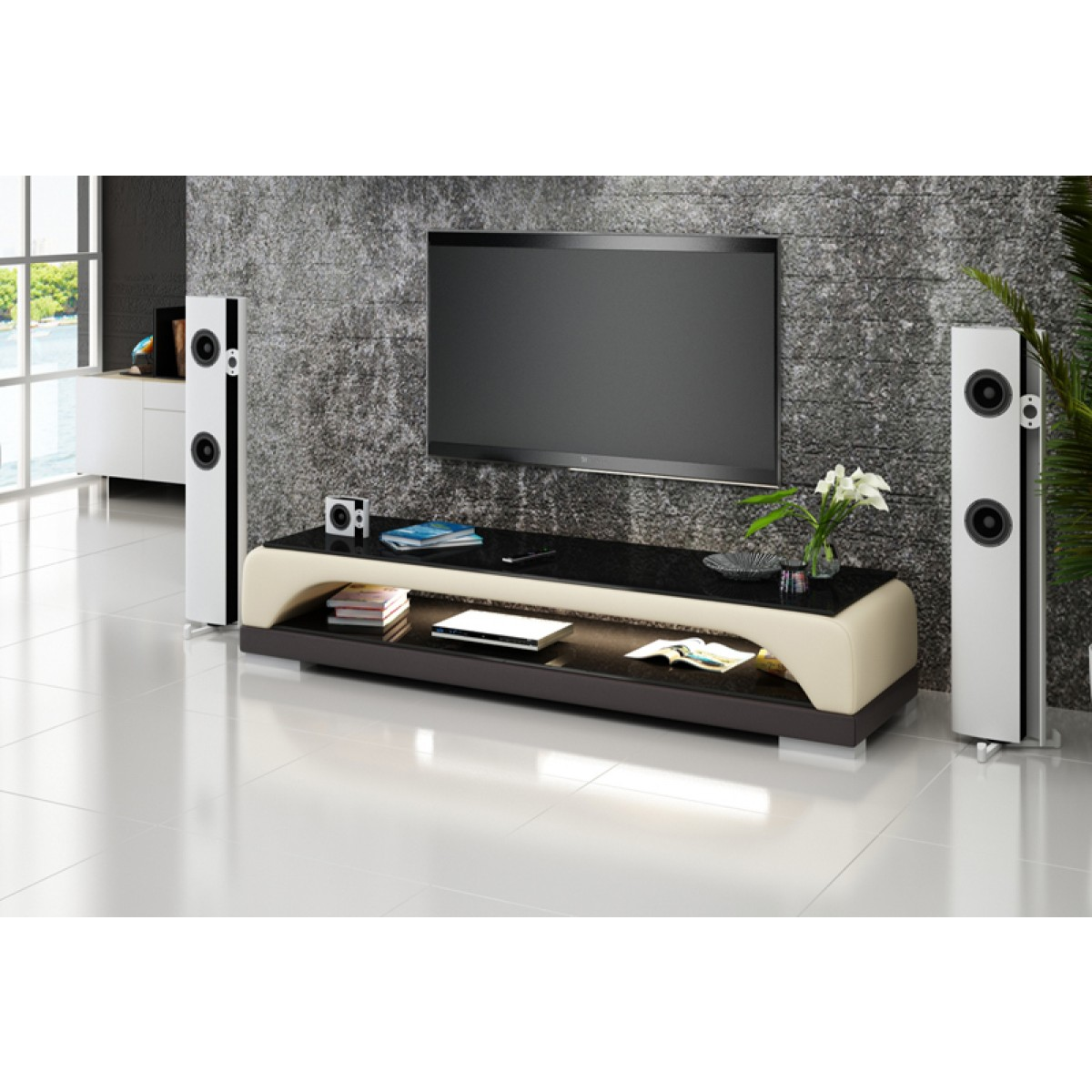 Meuble tv design personnalisable bolzano pop for Meuble tv beige