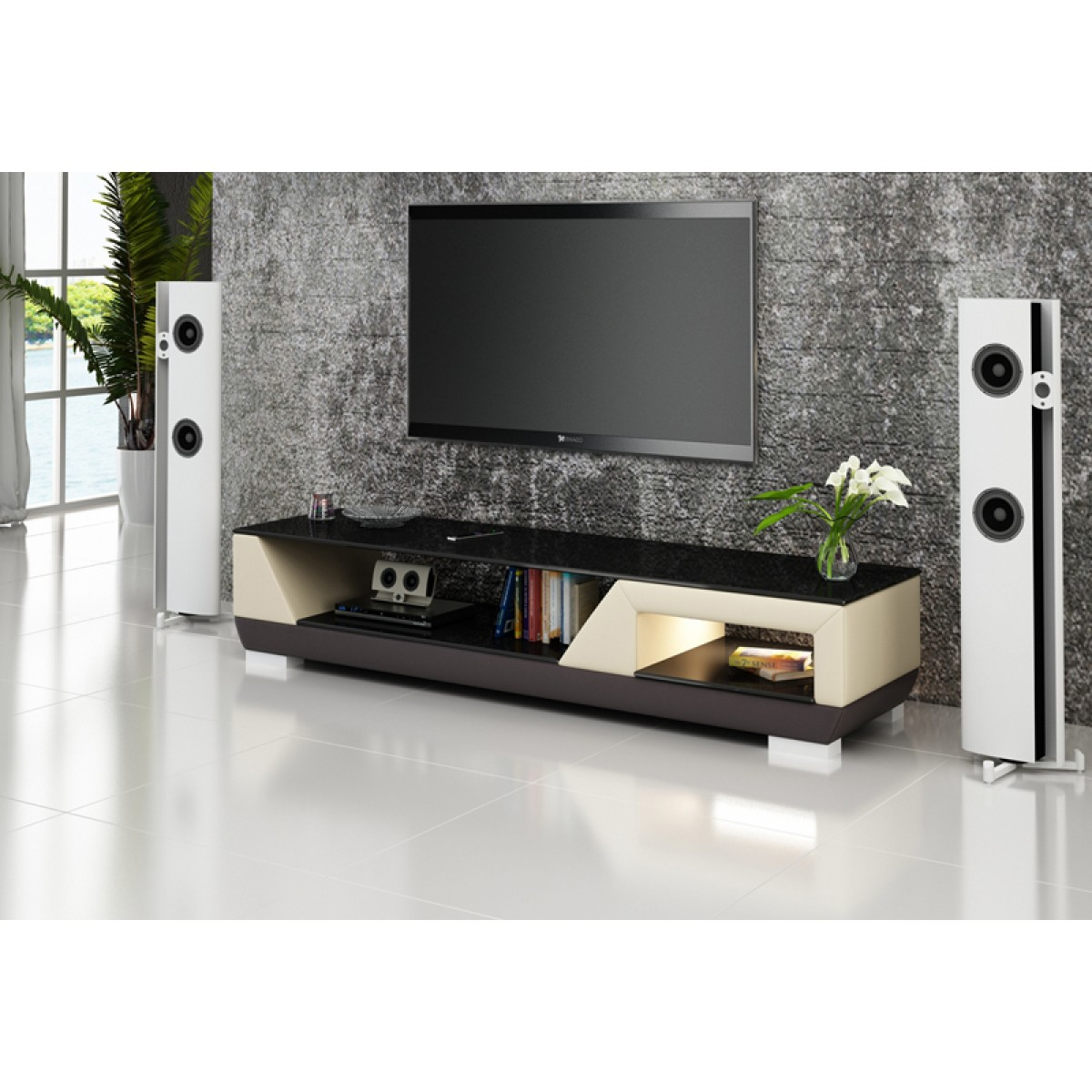meuble tv design personnalisable klin pu aspect cuir pop. Black Bedroom Furniture Sets. Home Design Ideas