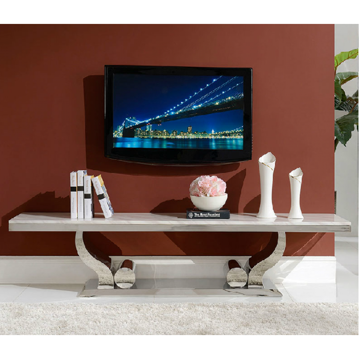 meuble tv en inox et verre marbre nova. Black Bedroom Furniture Sets. Home Design Ideas